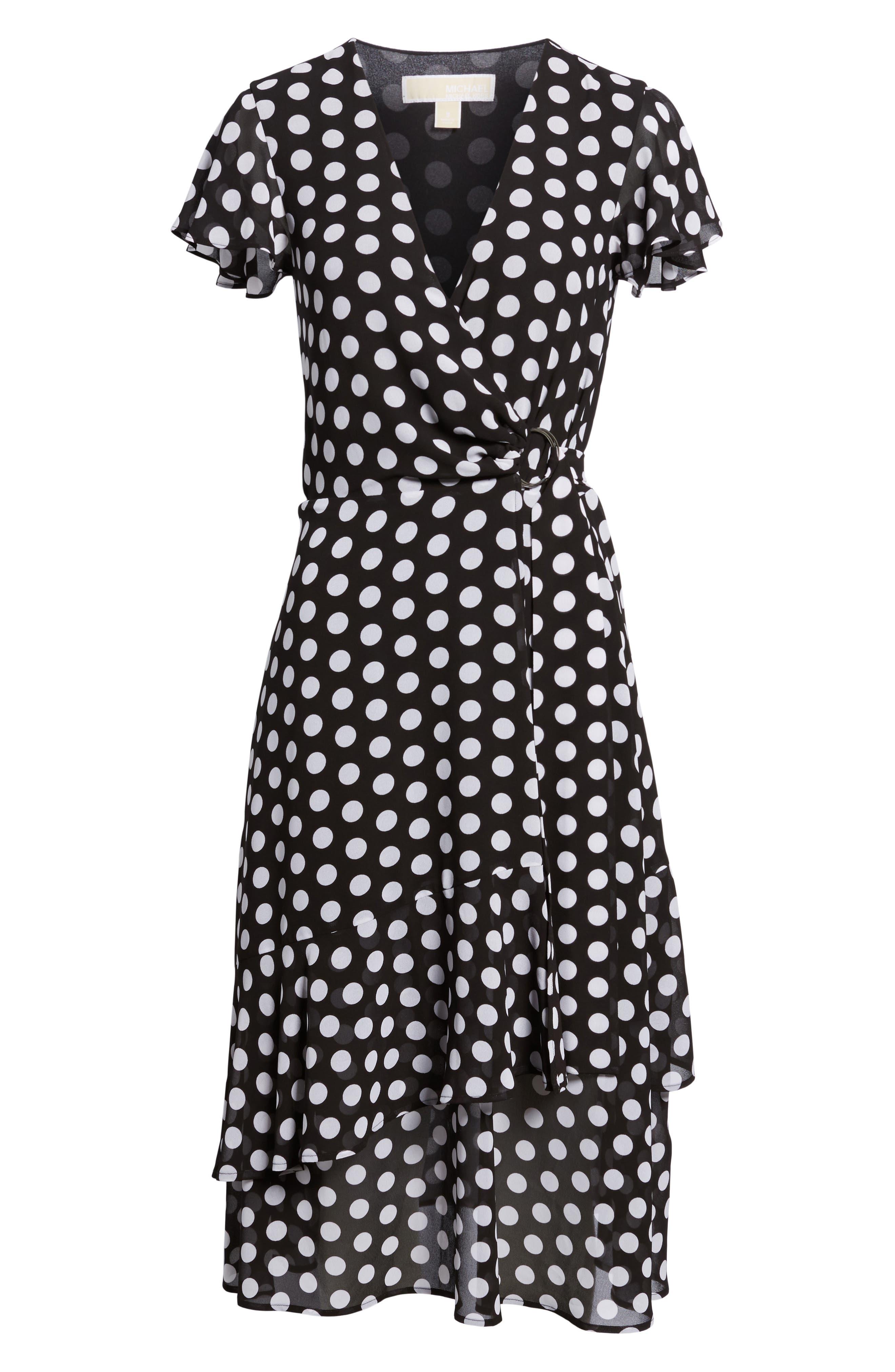 Simple Dot Wrap Dress,                             Alternate thumbnail 6, color,                             018