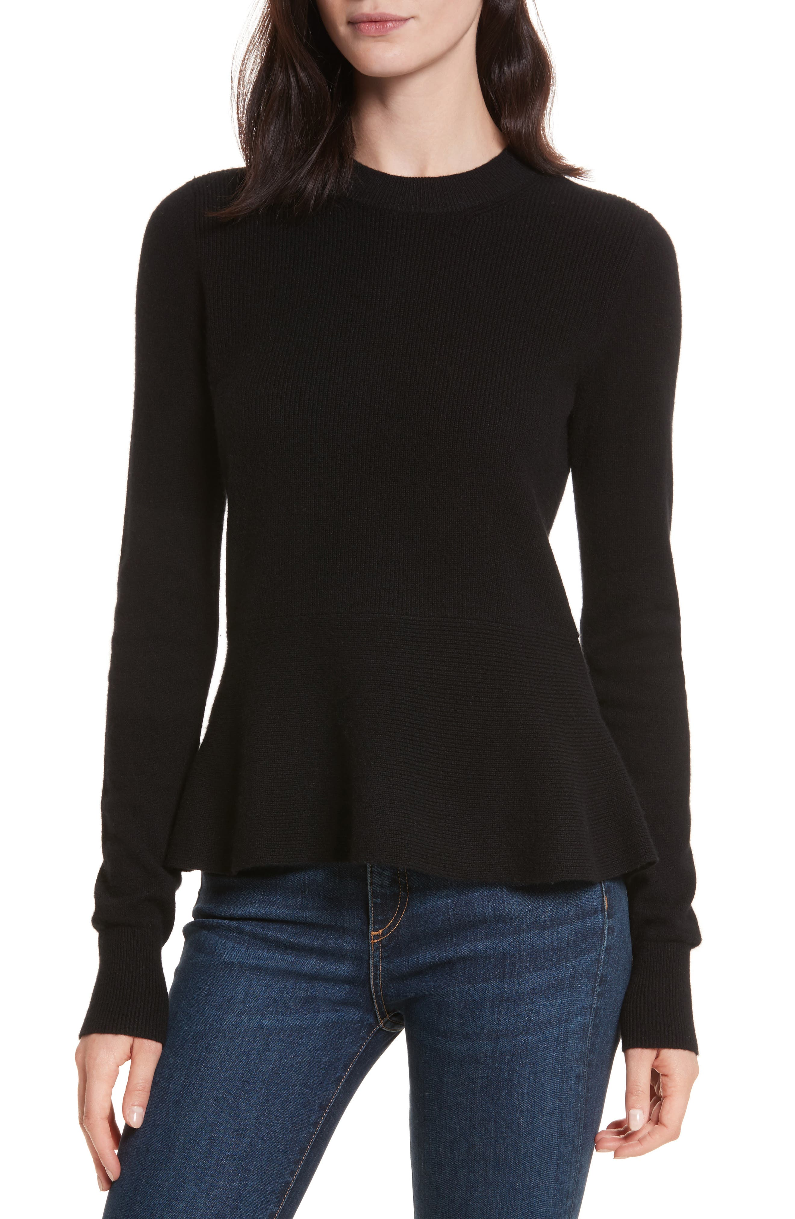 Raleigh Cashmere Peplum Sweater,                             Main thumbnail 1, color,