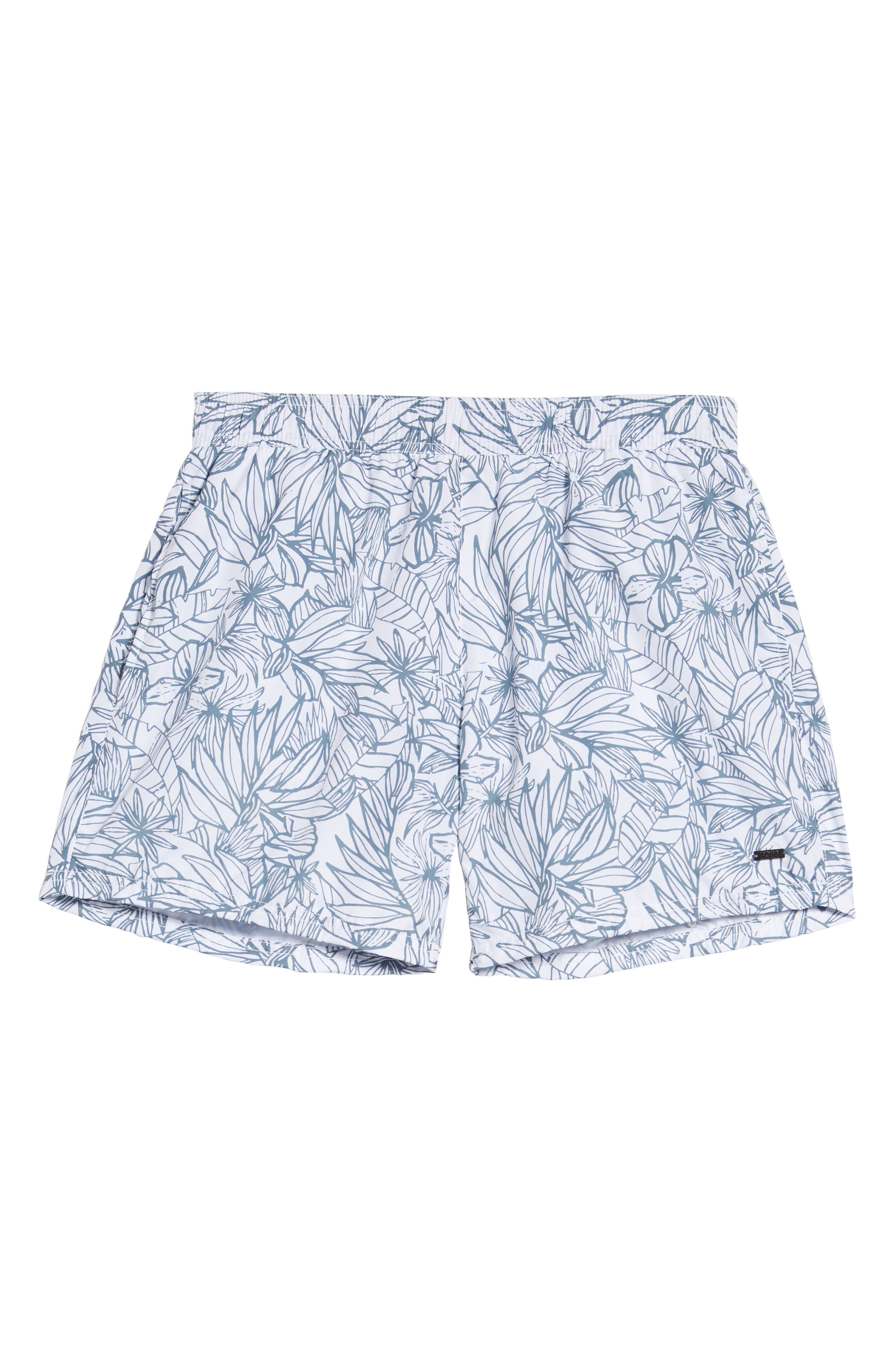 Needlefish Palm Swim Trunks,                             Alternate thumbnail 6, color,                             WHITE
