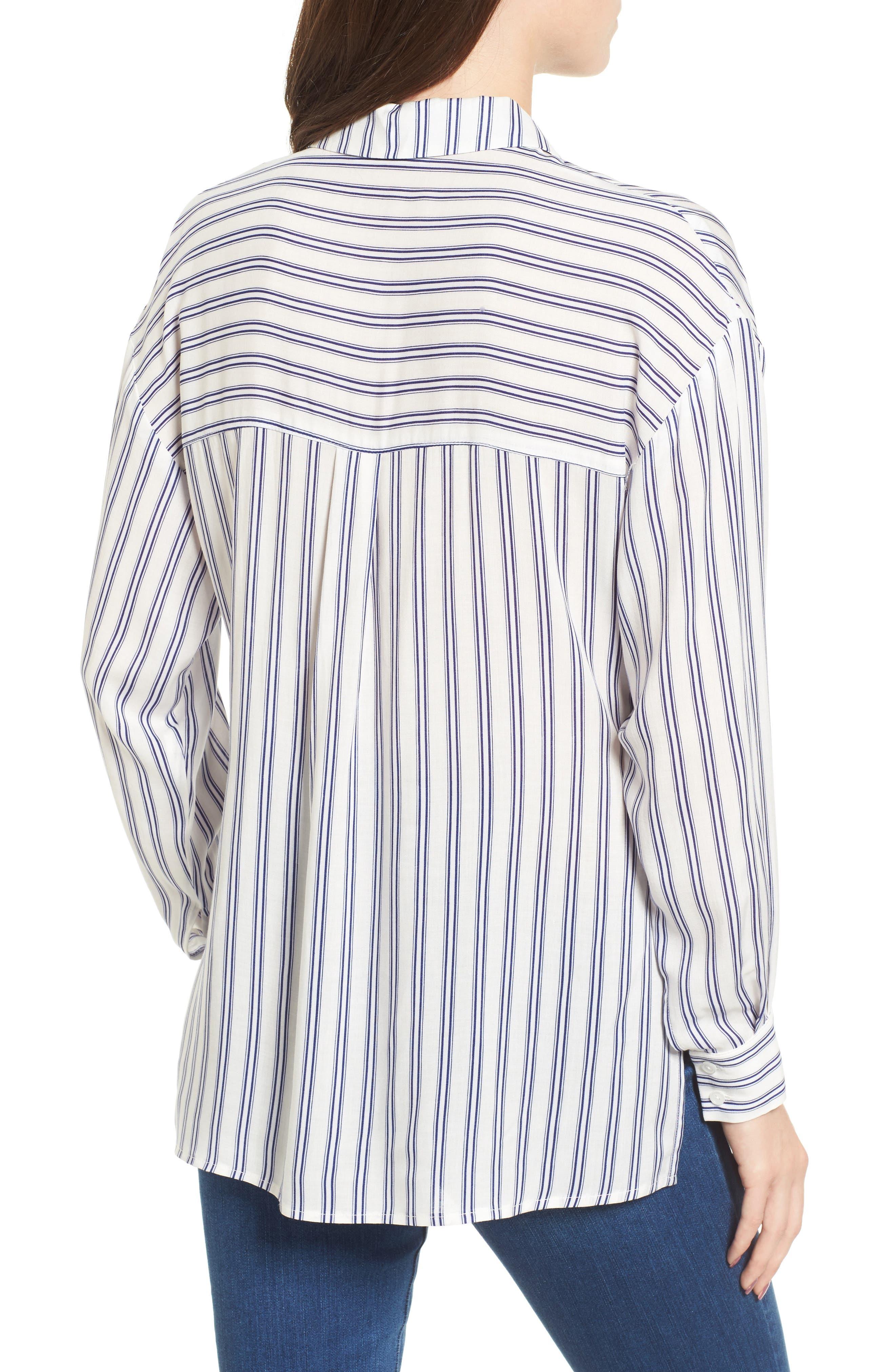 Stripe Tie Waist Blouse,                             Alternate thumbnail 2, color,                             100