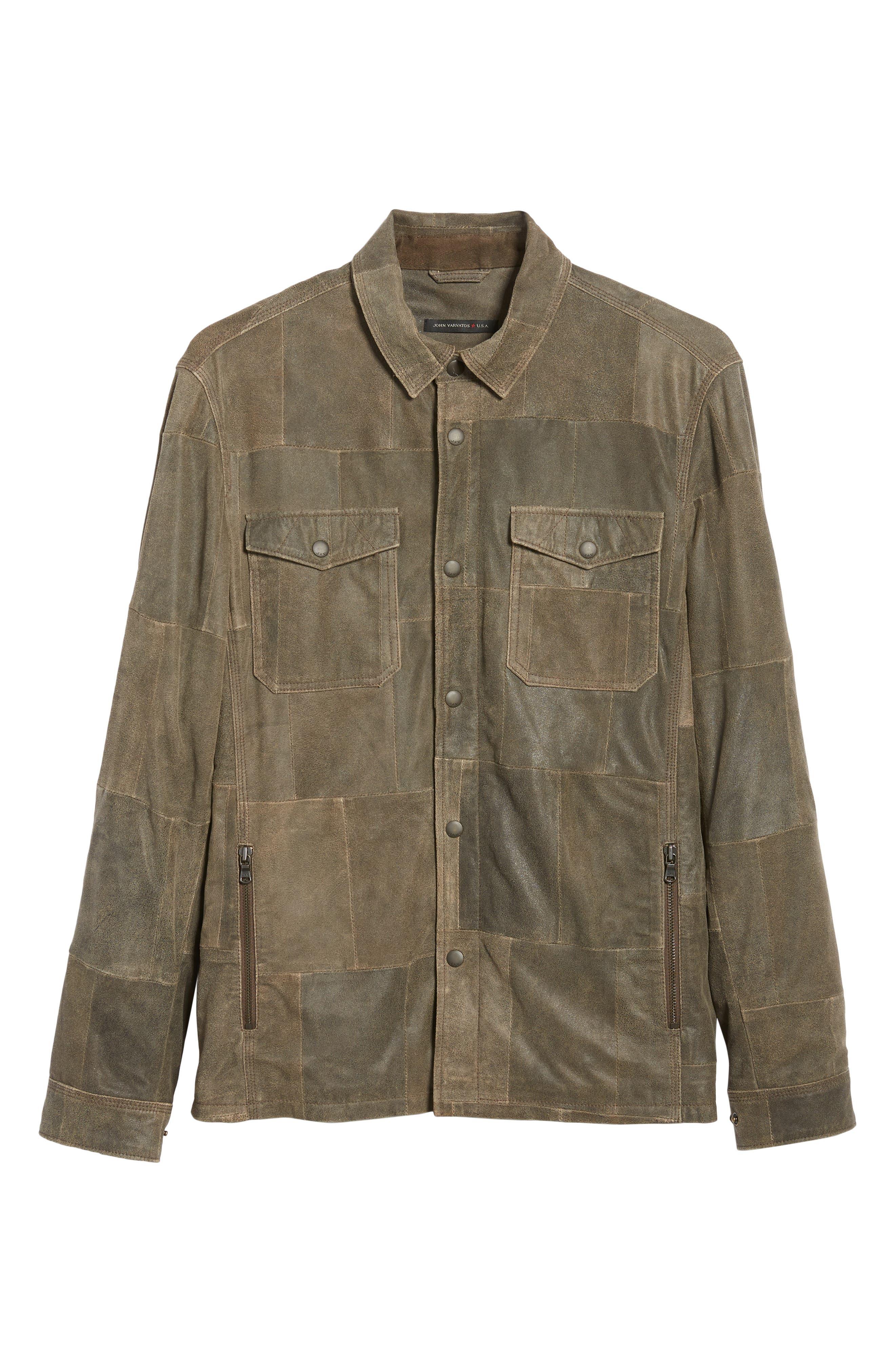 JOHN VARVATOS STAR USA,                             Patchwork Goat Leather Jacket,                             Alternate thumbnail 6, color,                             RYE