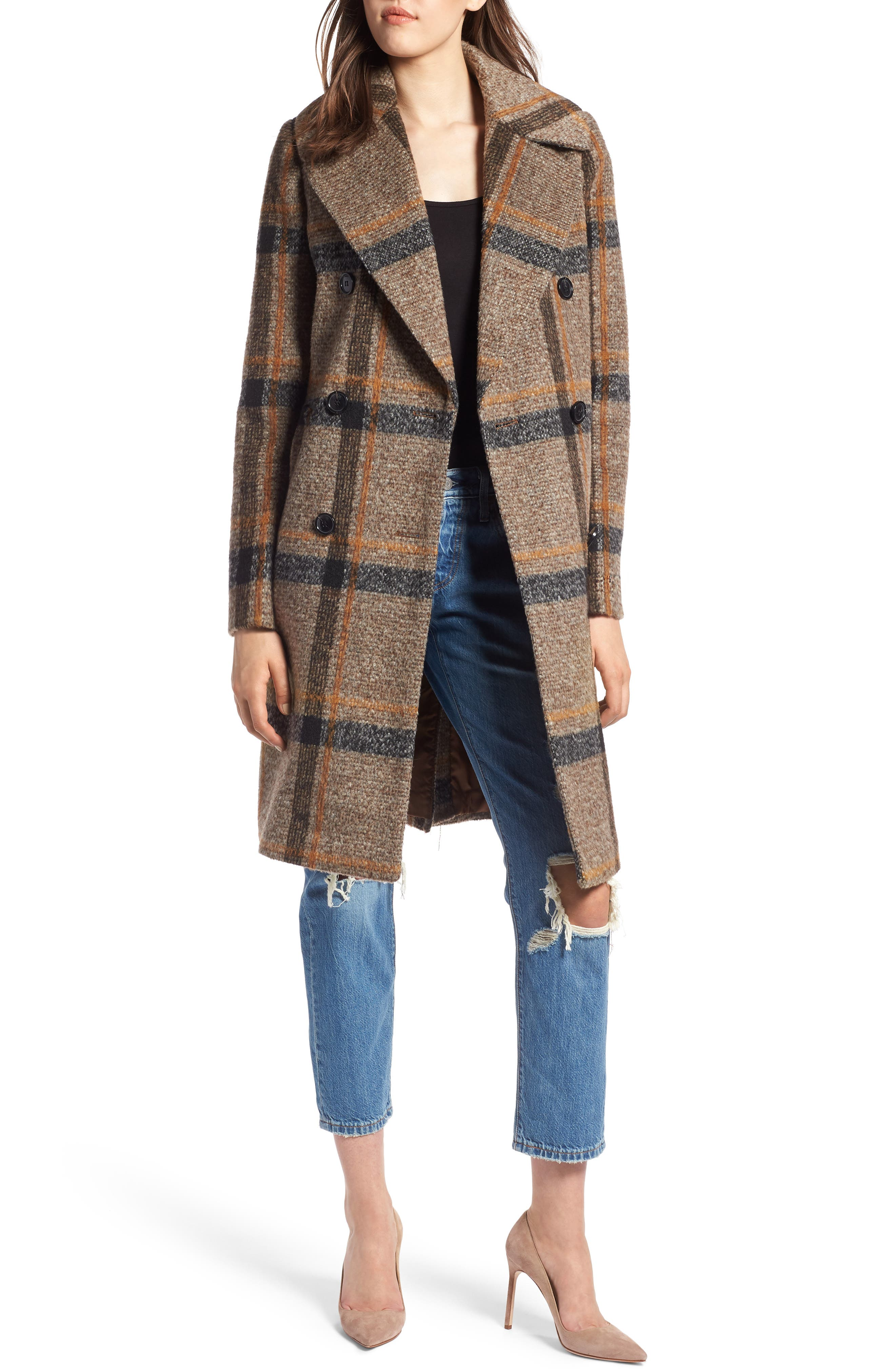 Double Breasted Coat,                             Main thumbnail 1, color,                             BROWN PLAID