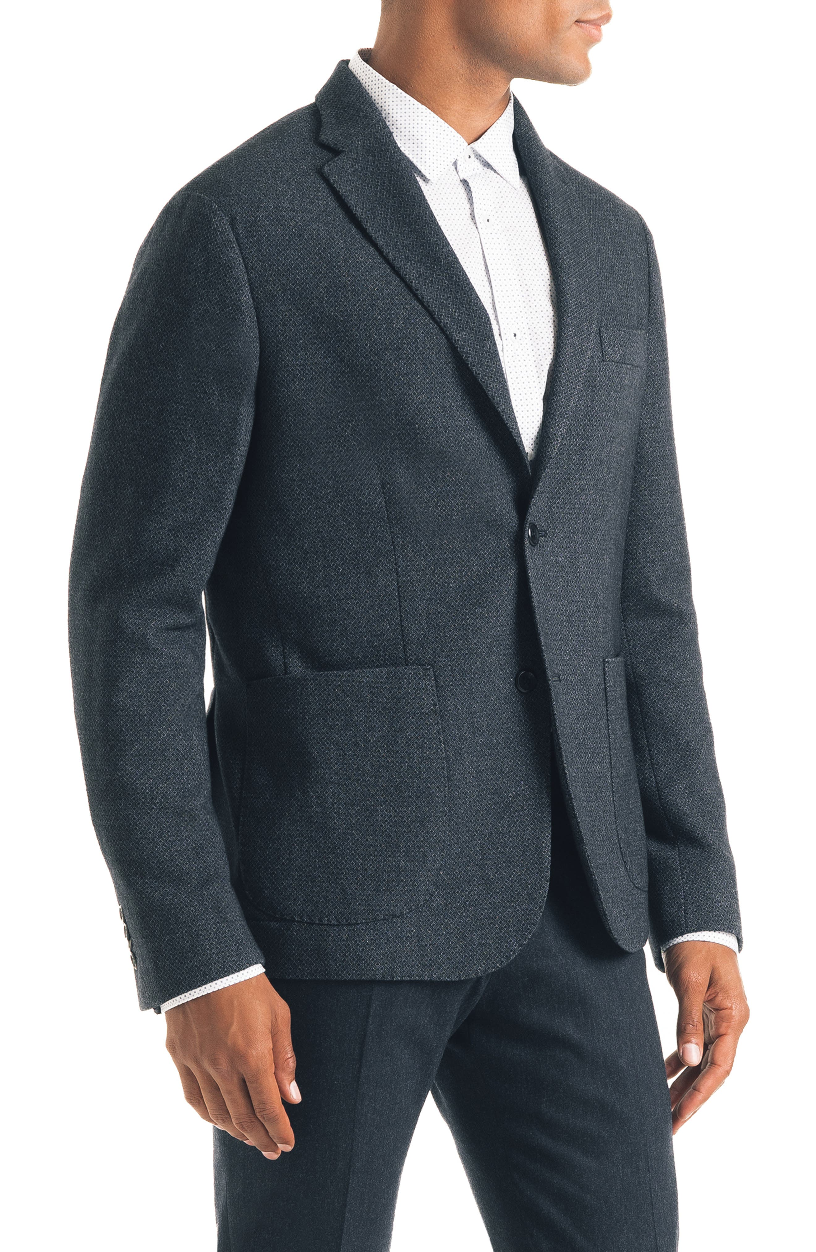 Downtown Trim Fit Print Wool Blend Sport Coat,                             Alternate thumbnail 3, color,                             NAVY