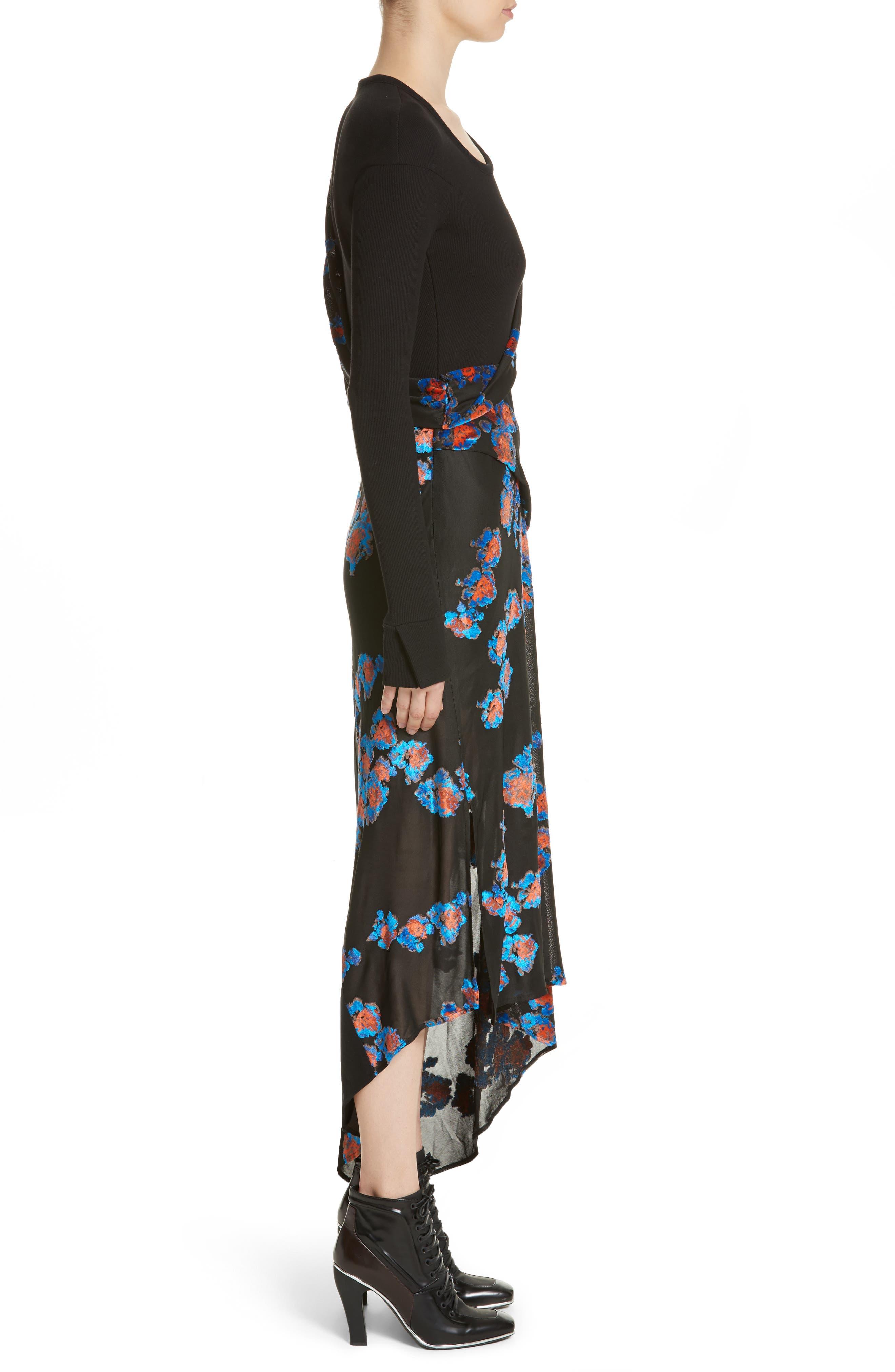 Jersey Jacquard Draped Maxi Dress,                             Alternate thumbnail 3, color,                             001