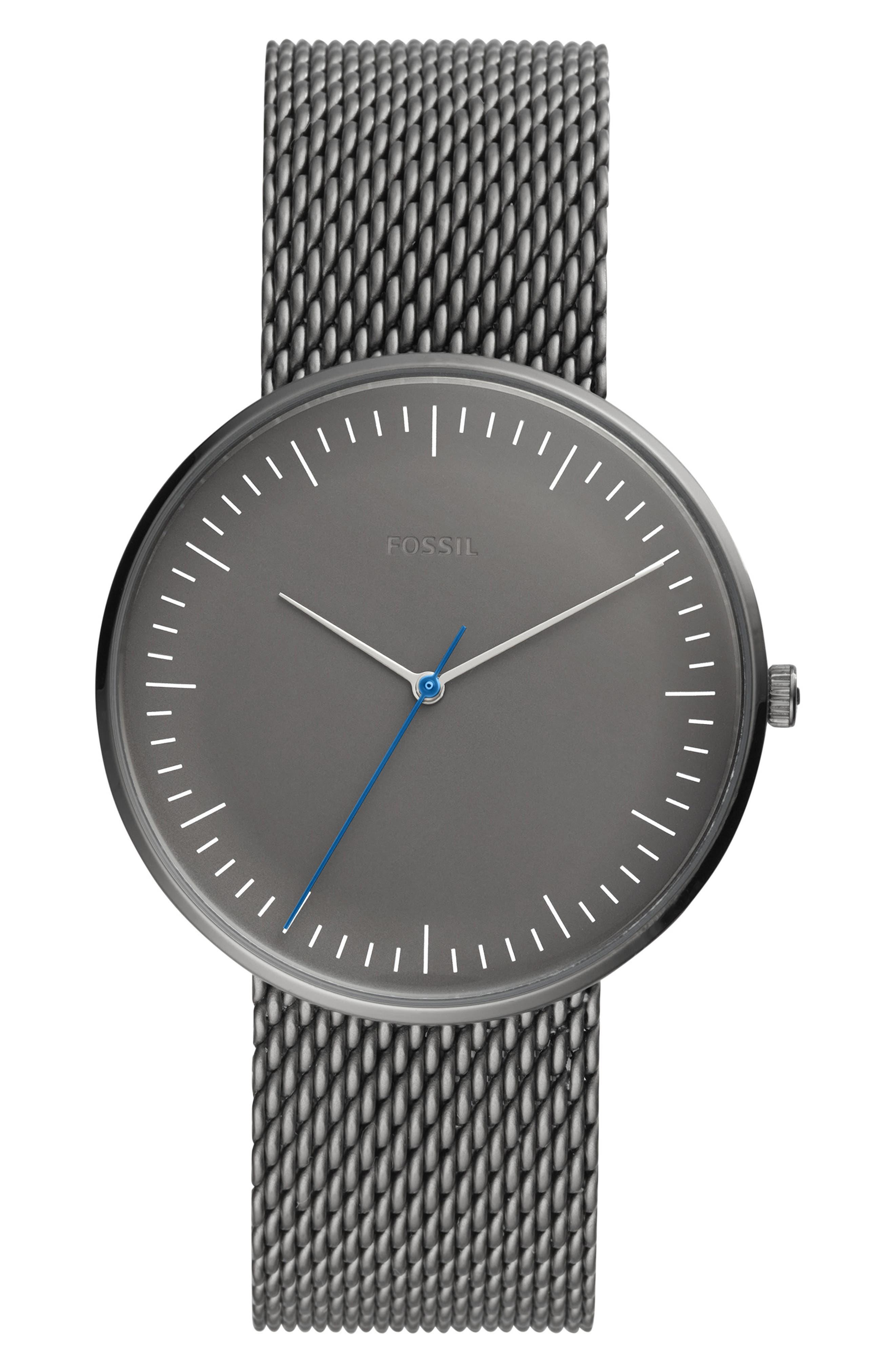 Essentialist Mesh Strap Watch, 42mm,                         Main,                         color, GUNMETAL/ GREY