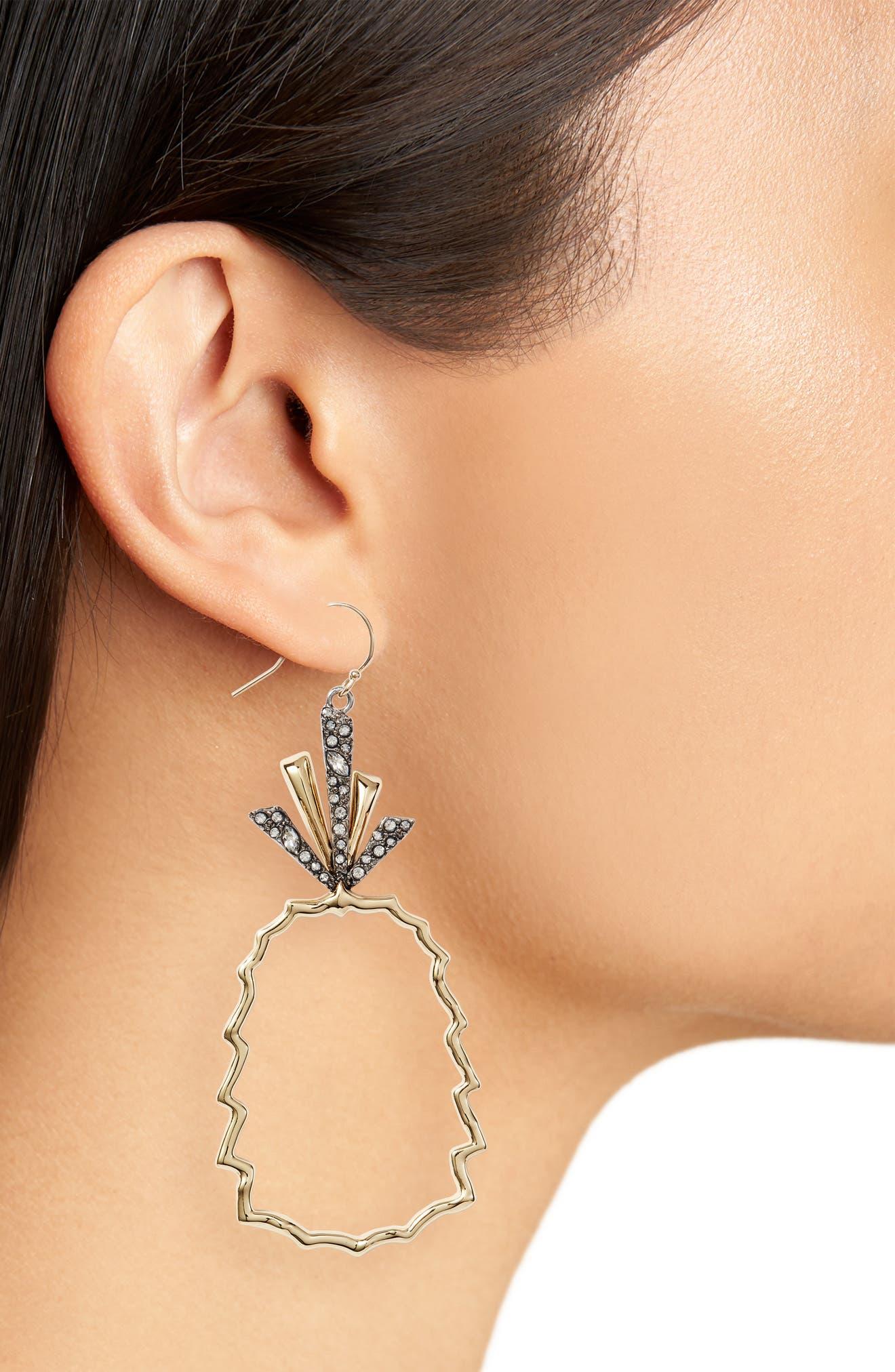 Crystal Leaf Pineapple Earrings,                             Alternate thumbnail 2, color,                             GOLD