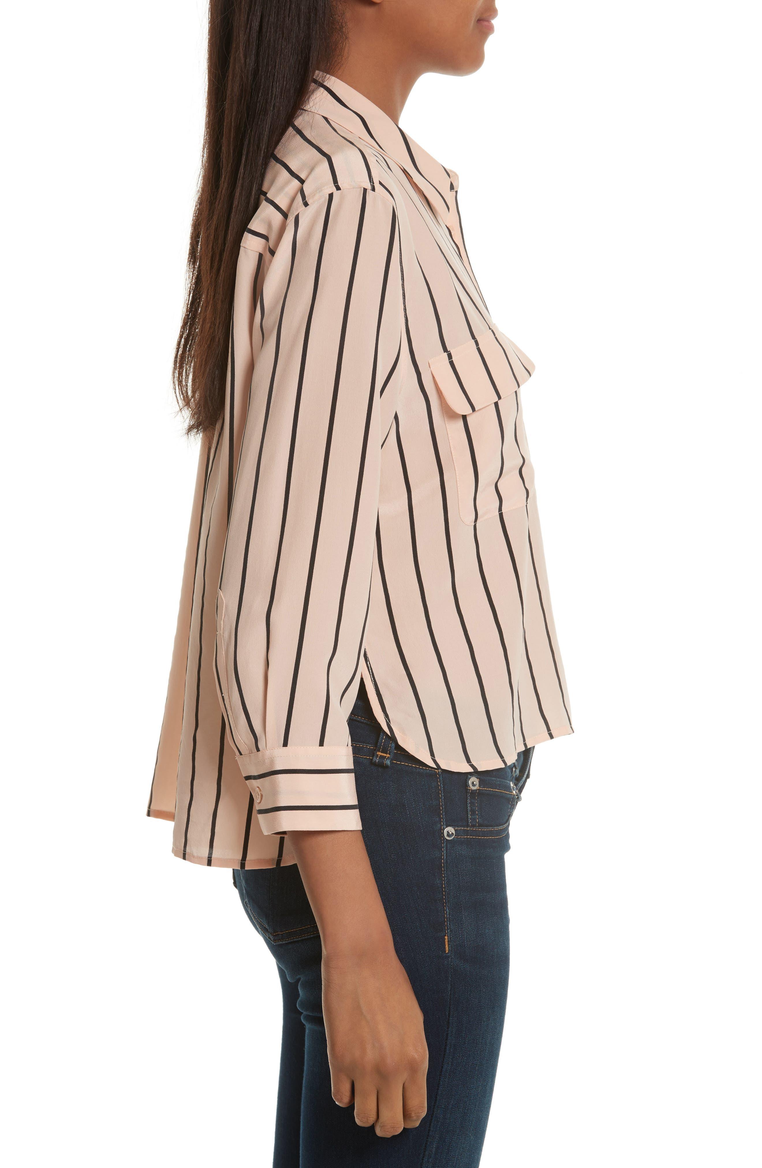 Signature Crop Stripe Silk Shirt,                             Alternate thumbnail 3, color,                             282