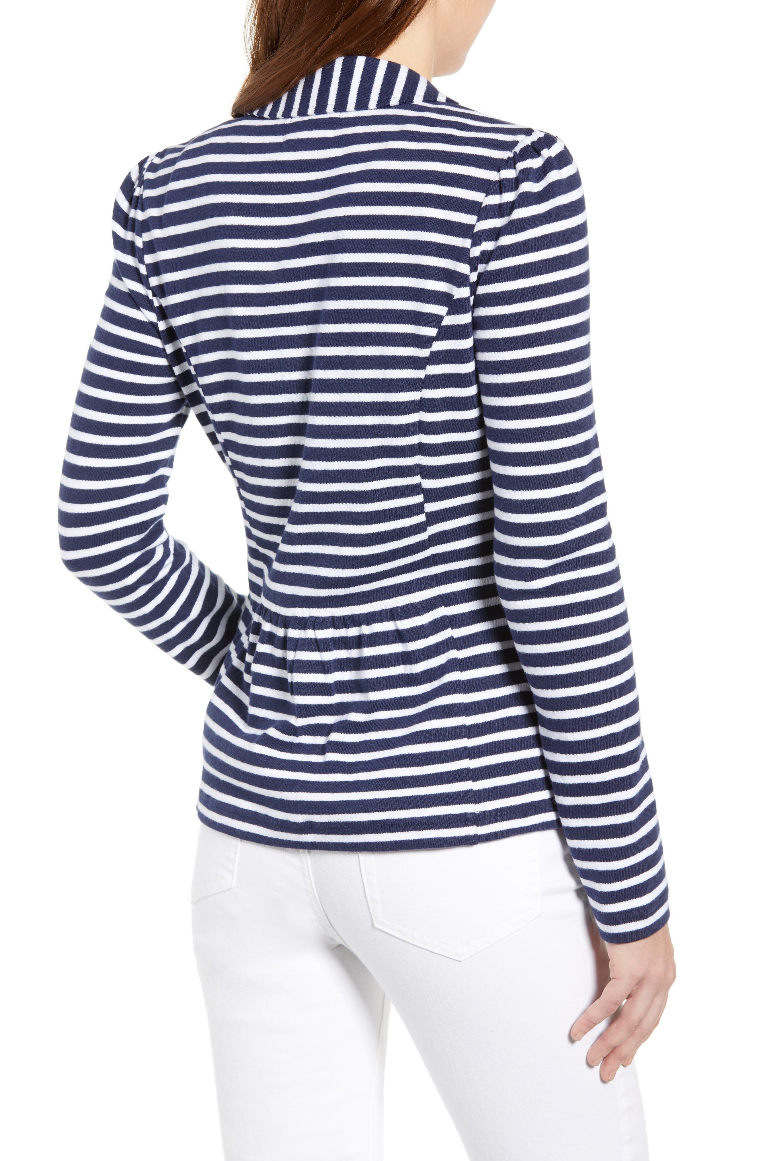 CASLON<SUP>®</SUP>,                             Knit One-Button Blazer,                             Alternate thumbnail 2, color,                             NAVY- WHITE STRIPE