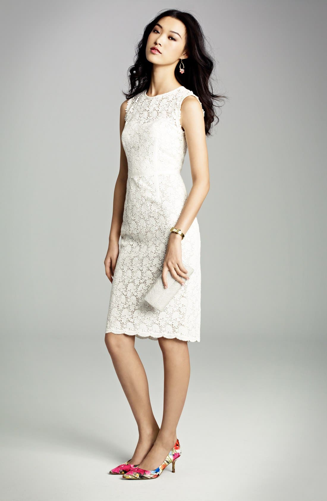 Illusion Yoke Lace Sheath Dress,                             Alternate thumbnail 7, color,