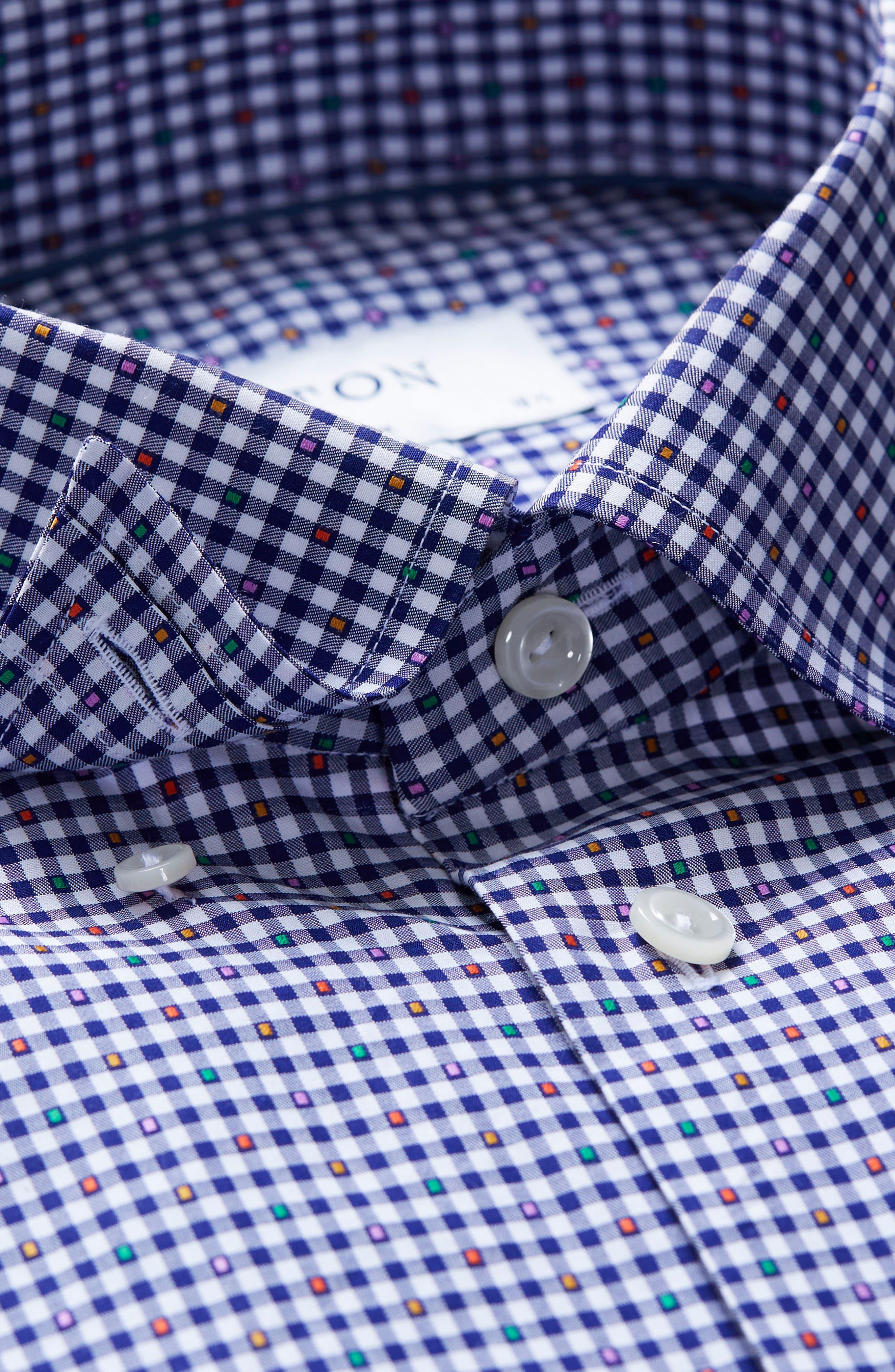 Slim Fit Check Dress Shirt,                             Alternate thumbnail 7, color,                             BLUE