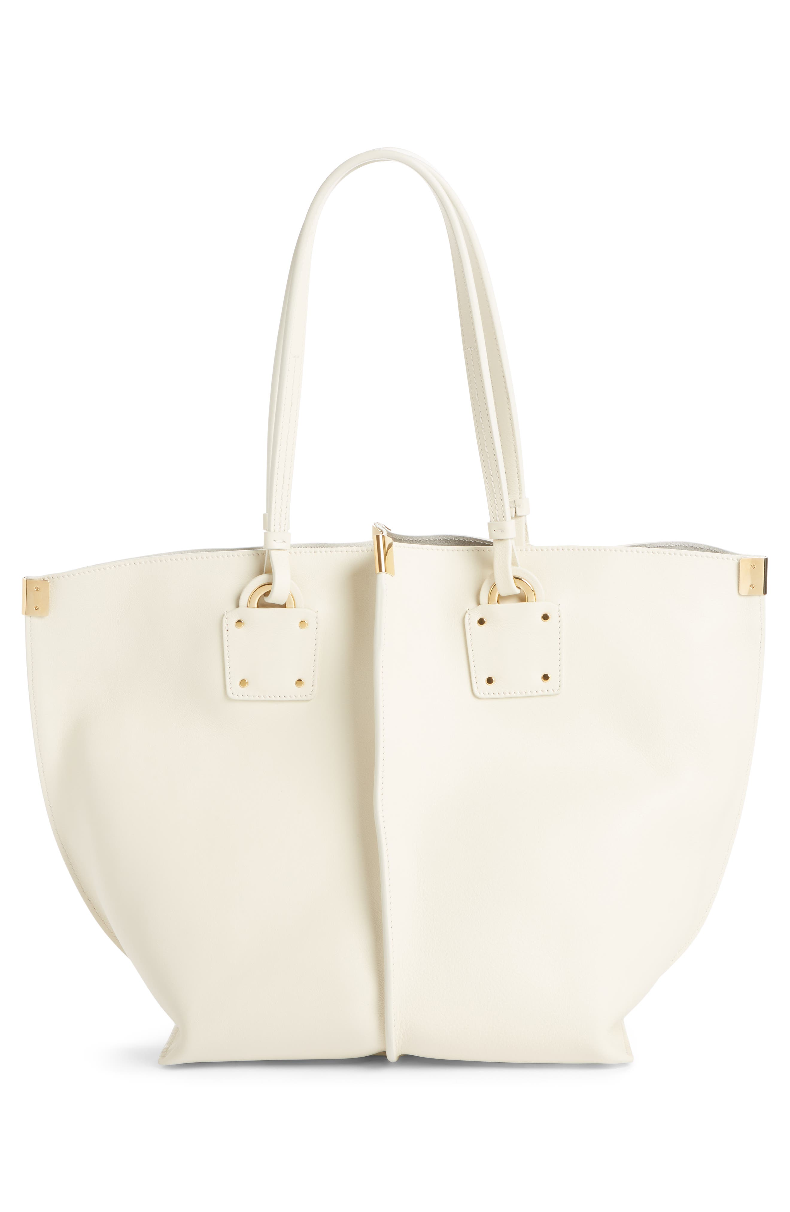 Vick Logo Embossed Leather Tote,                             Alternate thumbnail 3, color,                             OFF WHITE