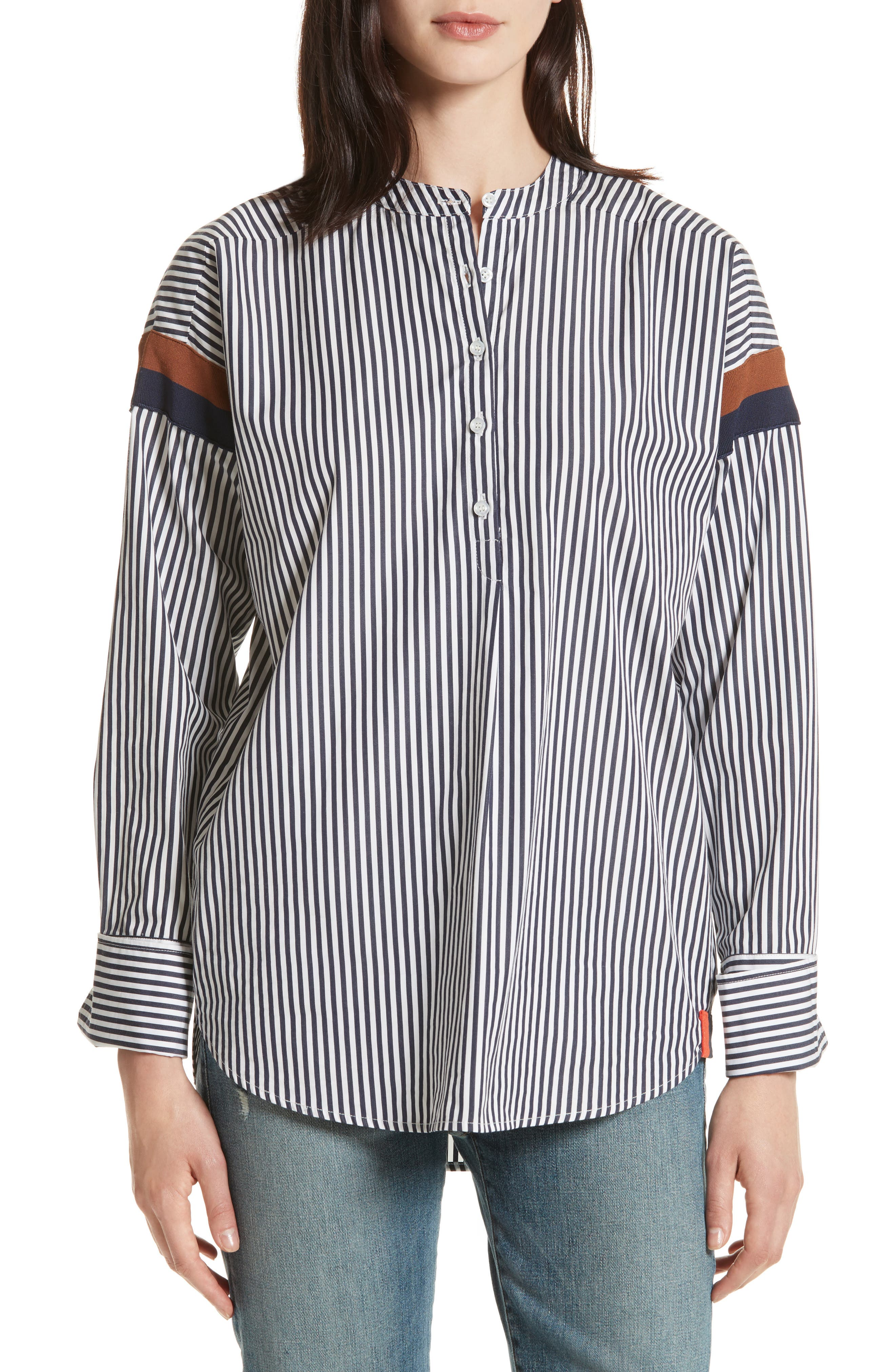 The Wallis Stripe Cotton Shirt,                             Main thumbnail 1, color,