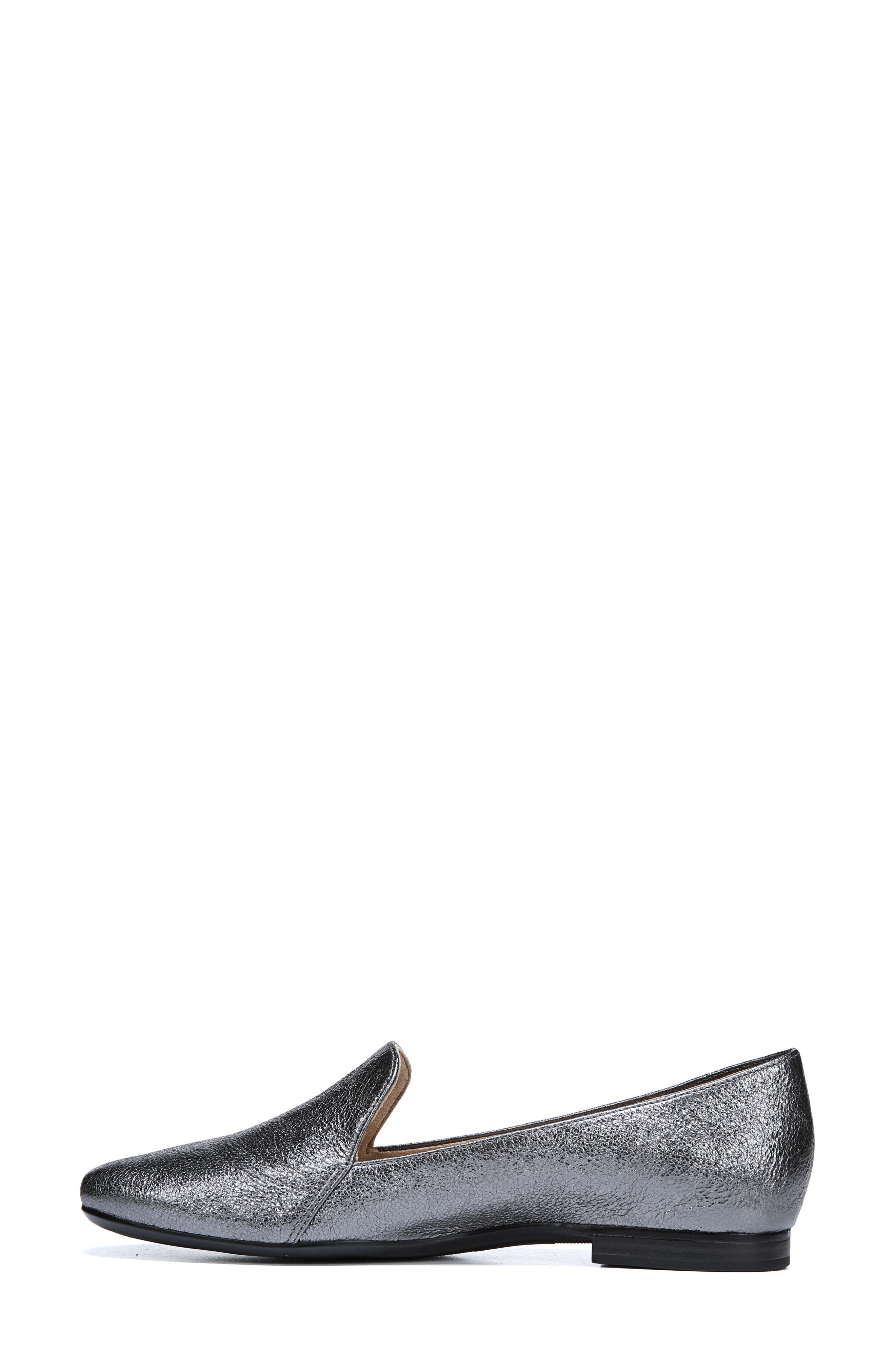 Emiline Flat Loafer,                             Alternate thumbnail 7, color,                             PEWTER LEATHER