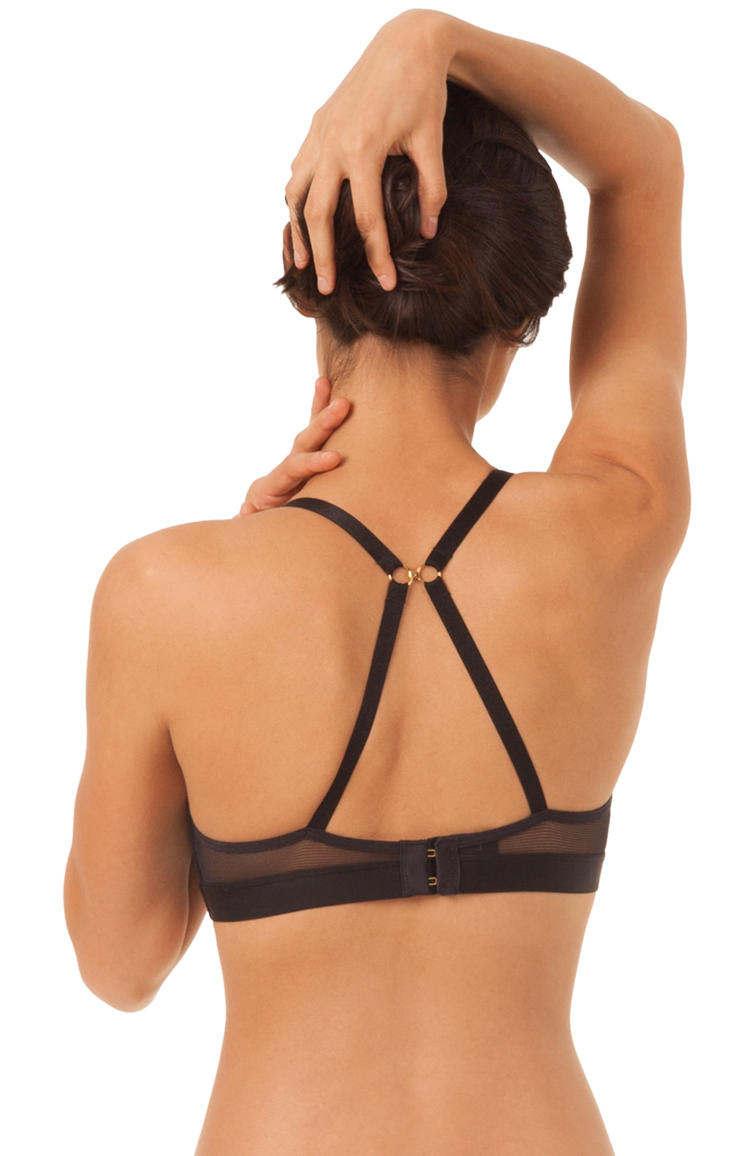 The All Day Deep-V No-Wire Bra,                             Alternate thumbnail 2, color,                             JET BLACK