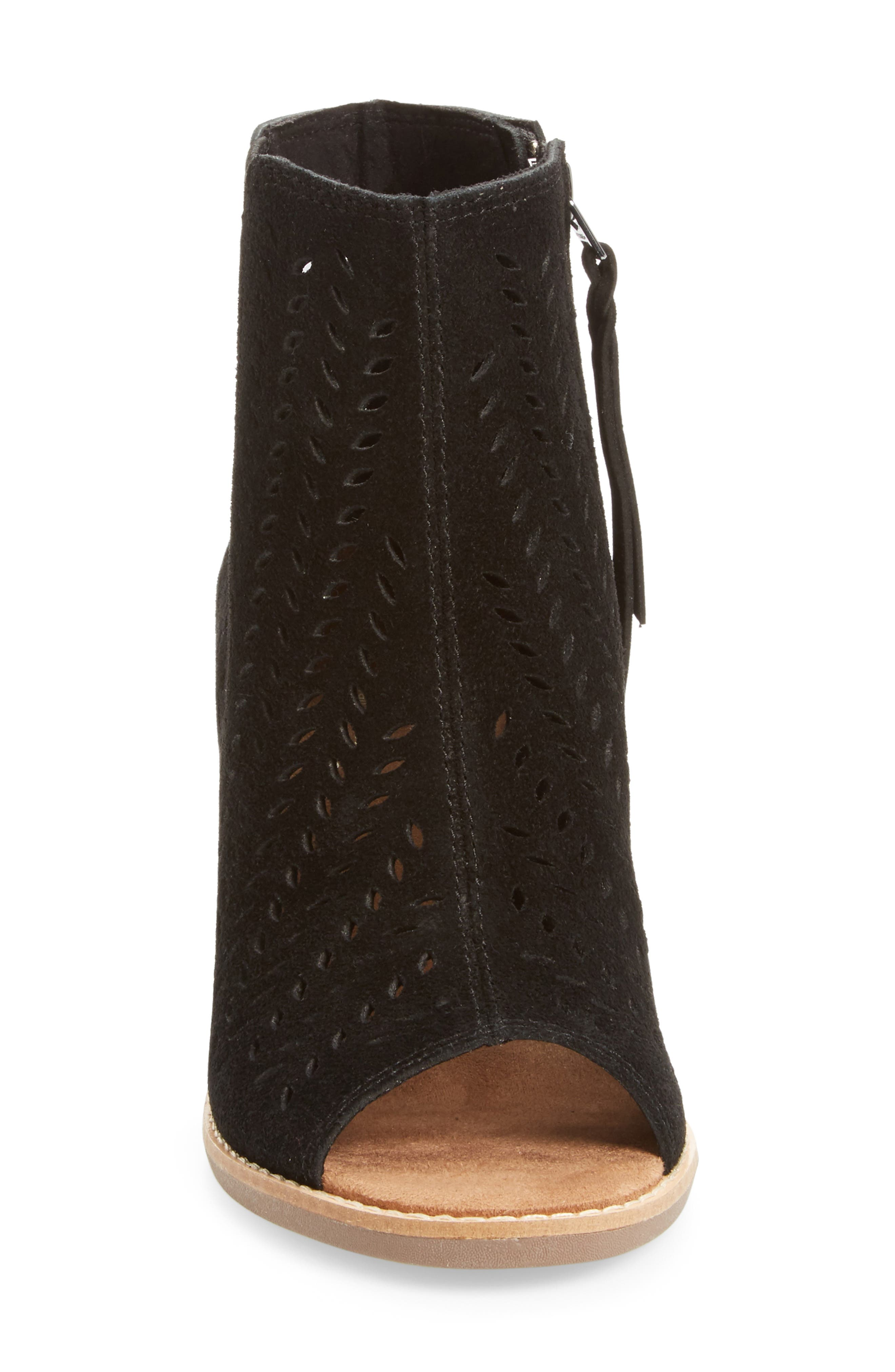 Majorca Perforated Suede Bootie,                             Alternate thumbnail 3, color,                             001