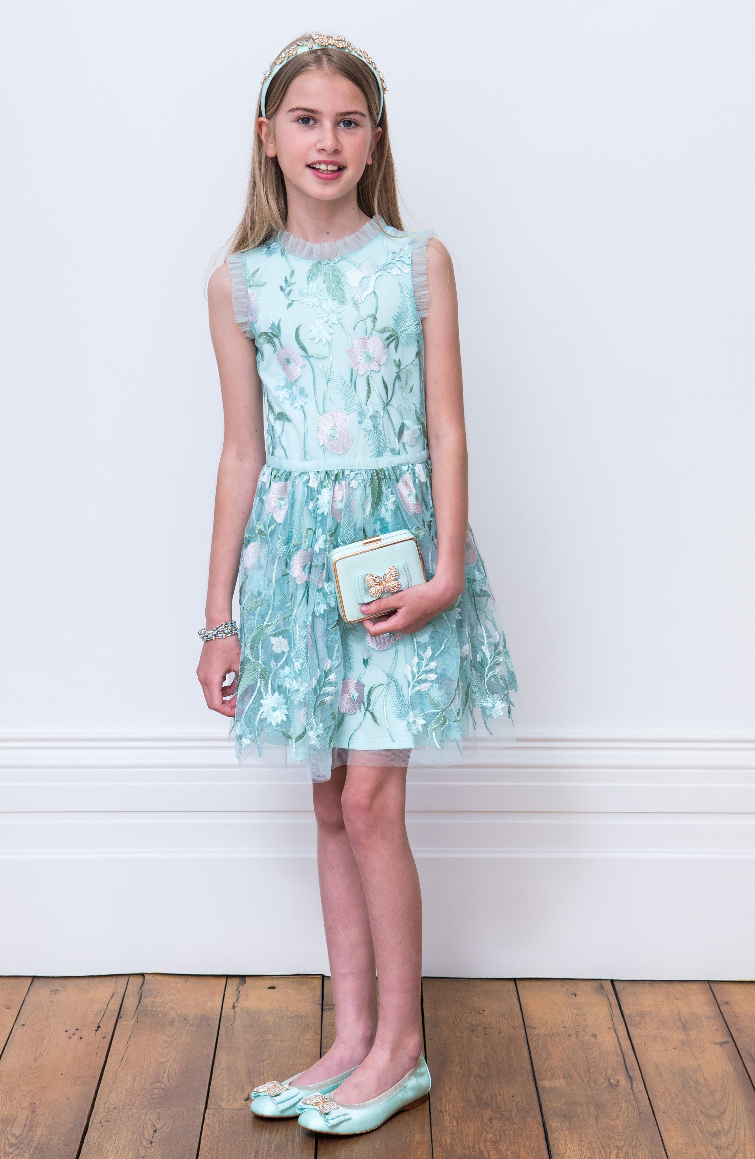 Pastel Embroidered Tulle Dress,                             Alternate thumbnail 3, color,                             BLUE