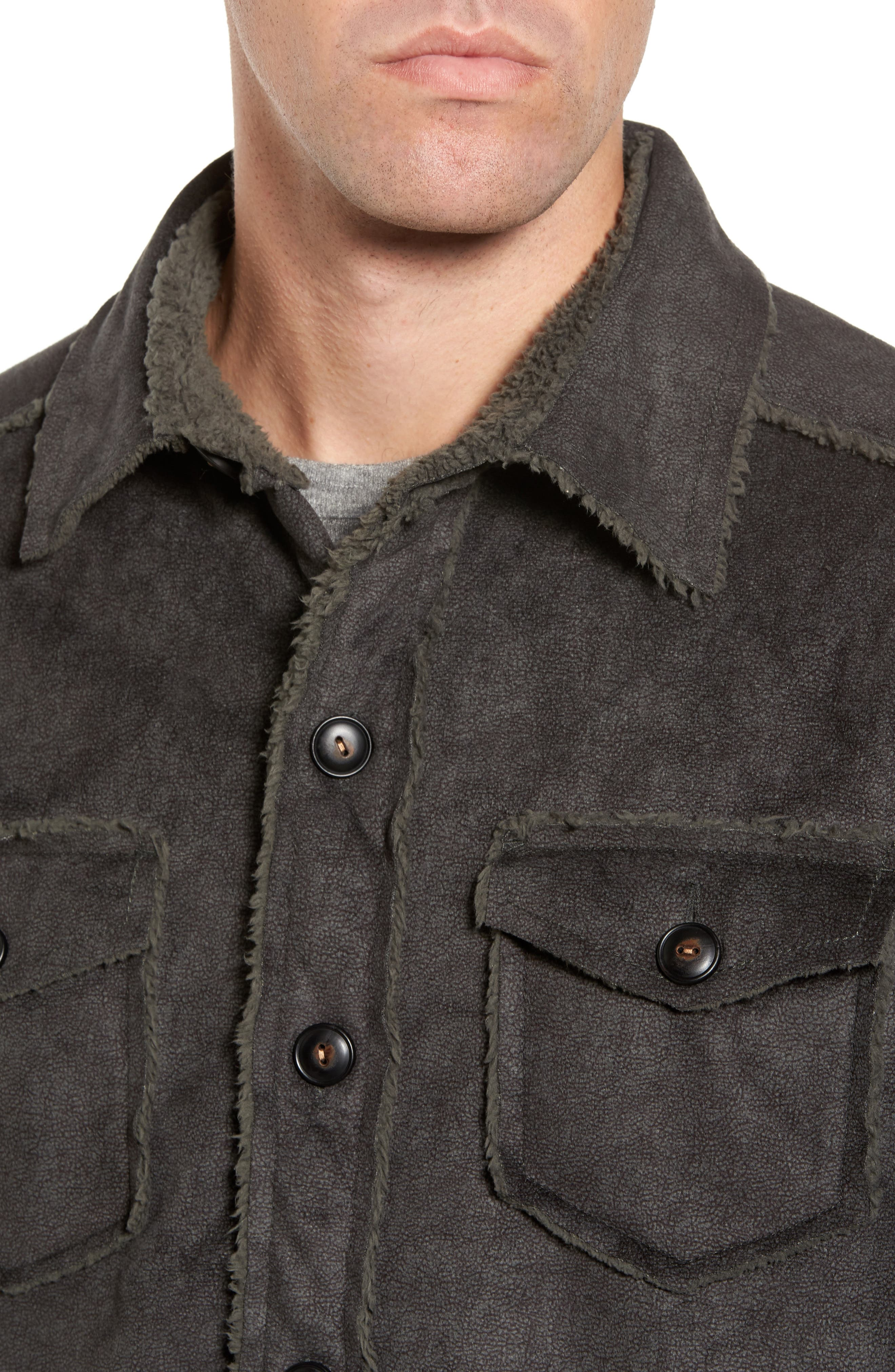 Faux Shearling & Faux Suede Shirt Jacket,                             Alternate thumbnail 4, color,                             345