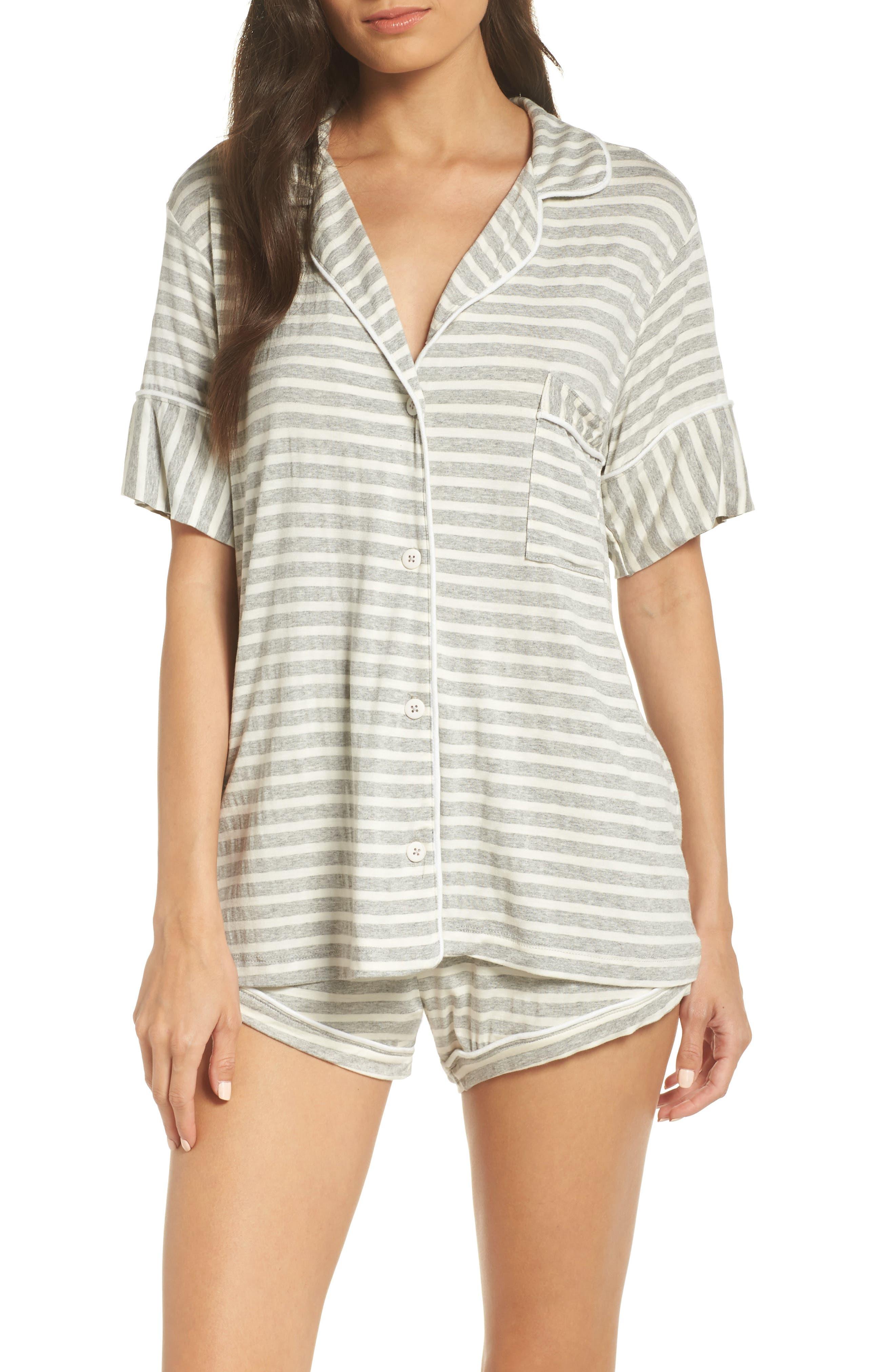 Monaco Short Pajamas,                         Main,                         color, GREY STRIPE