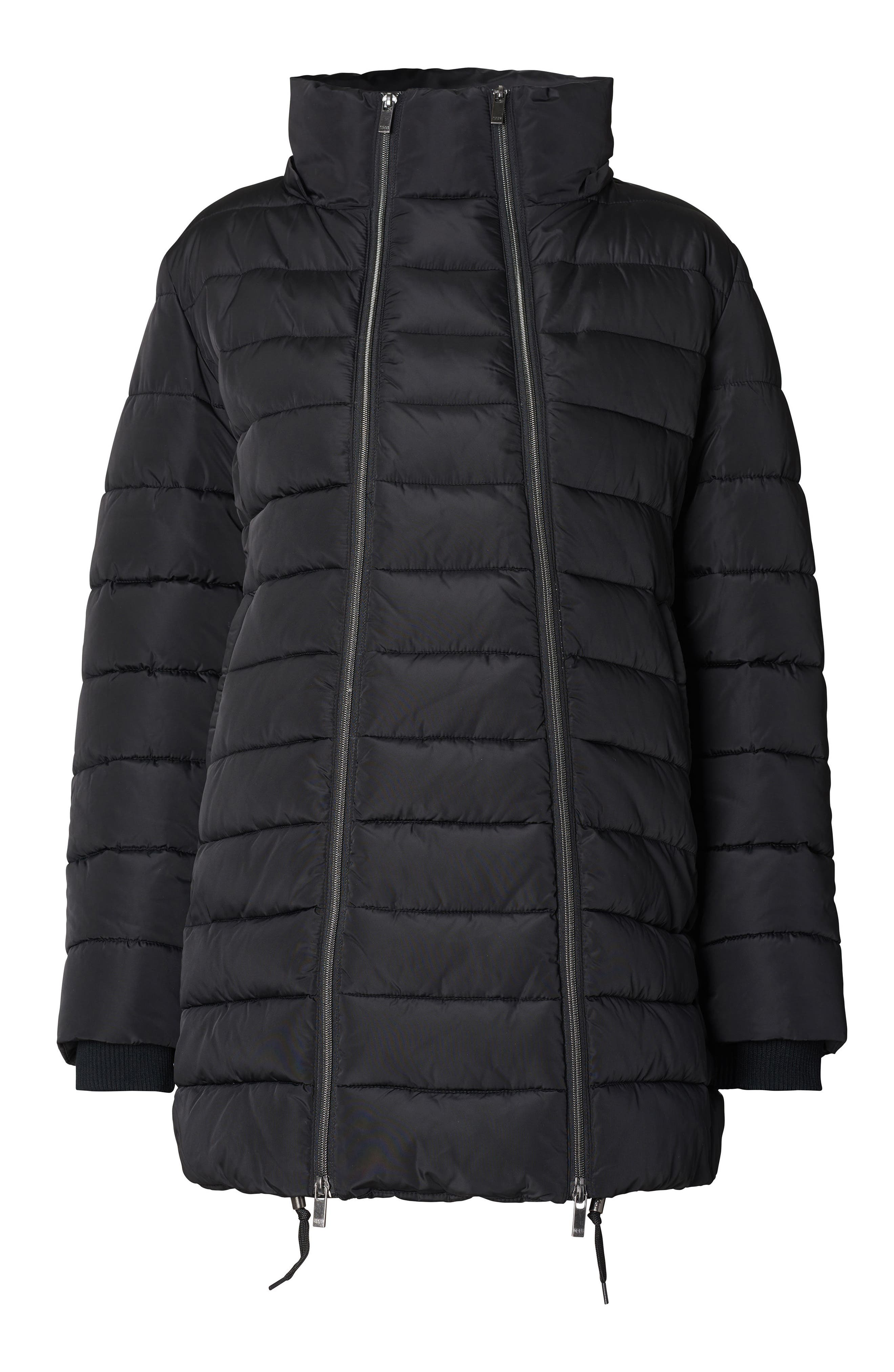 Bella Two-Way Quilted Maternity Coat with Faux Fur Trim,                             Alternate thumbnail 3, color,                             BLACK