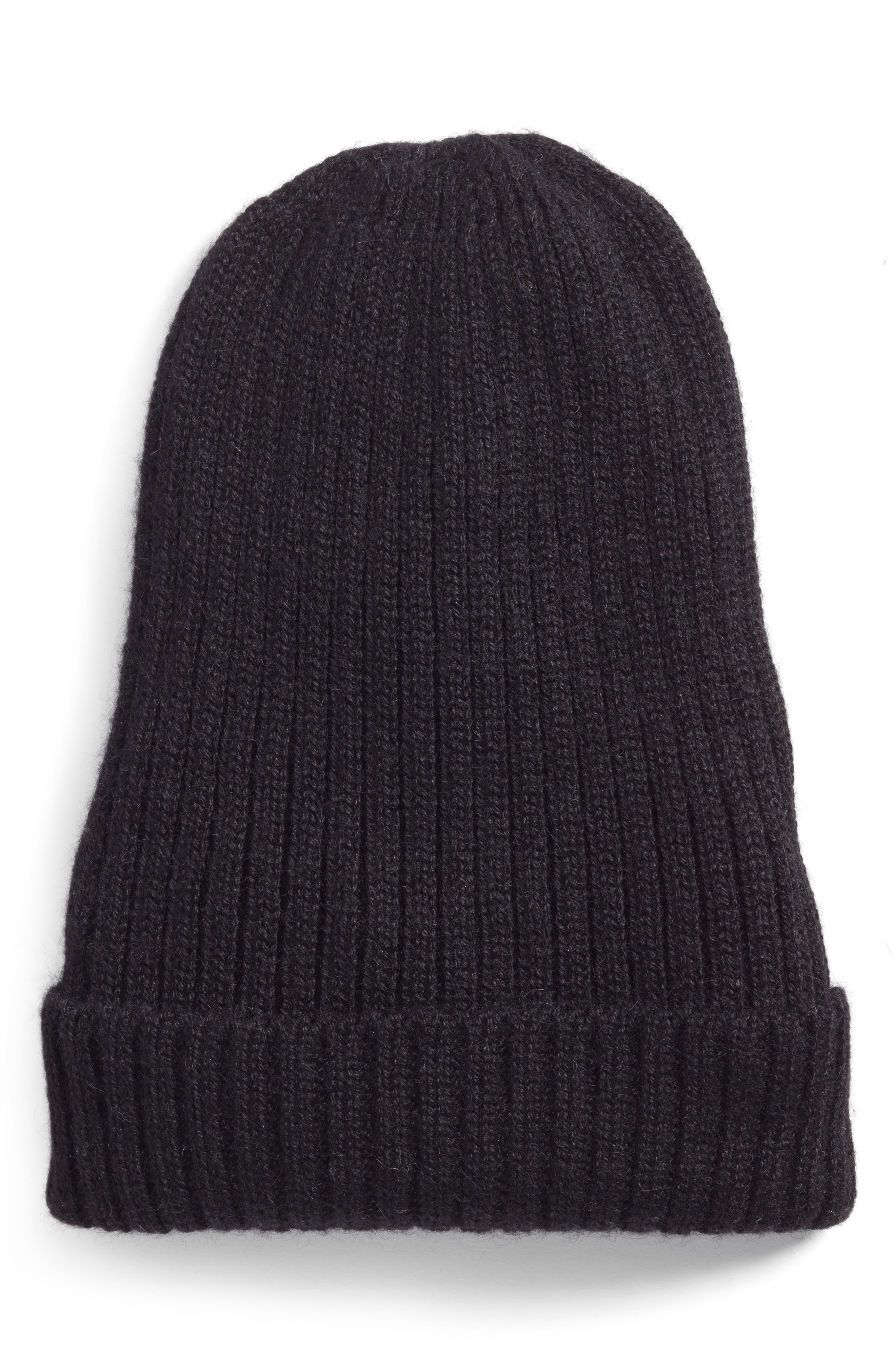 Nolita Alpaca Rib Knit Beanie,                             Main thumbnail 1, color,                             BLACK