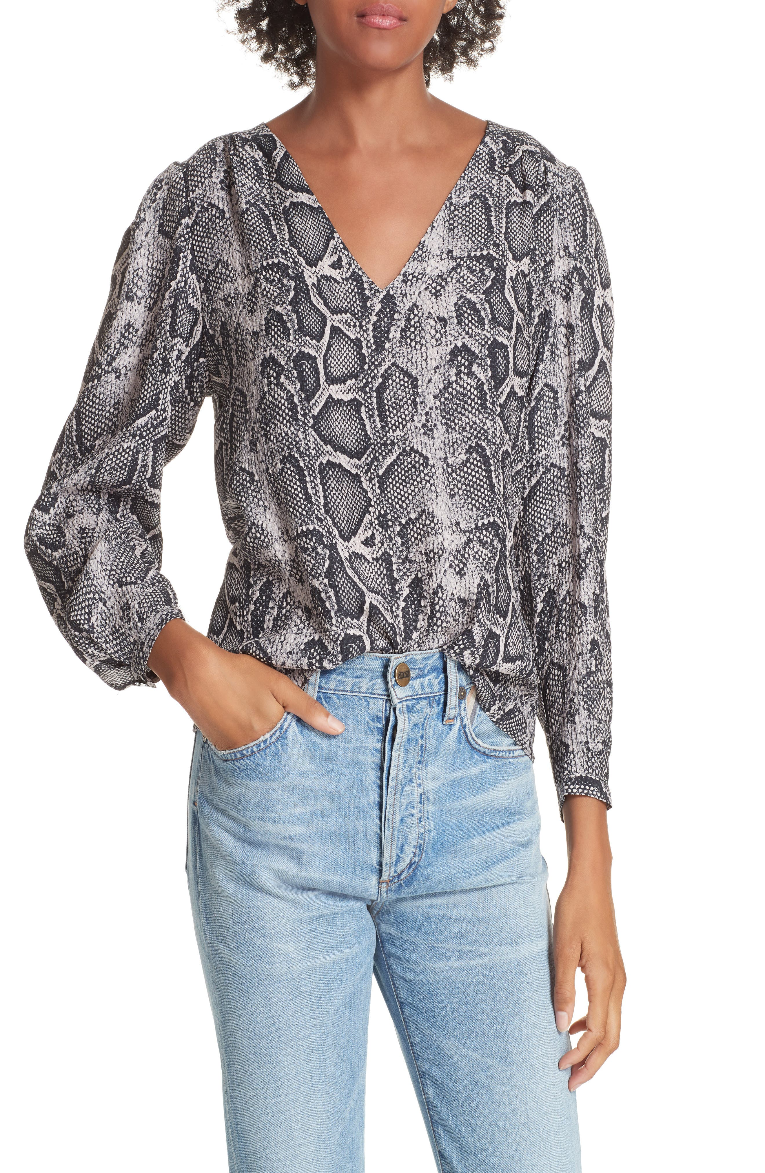 Snake Print Top,                             Main thumbnail 1, color,                             WASHED BLACK COMBO