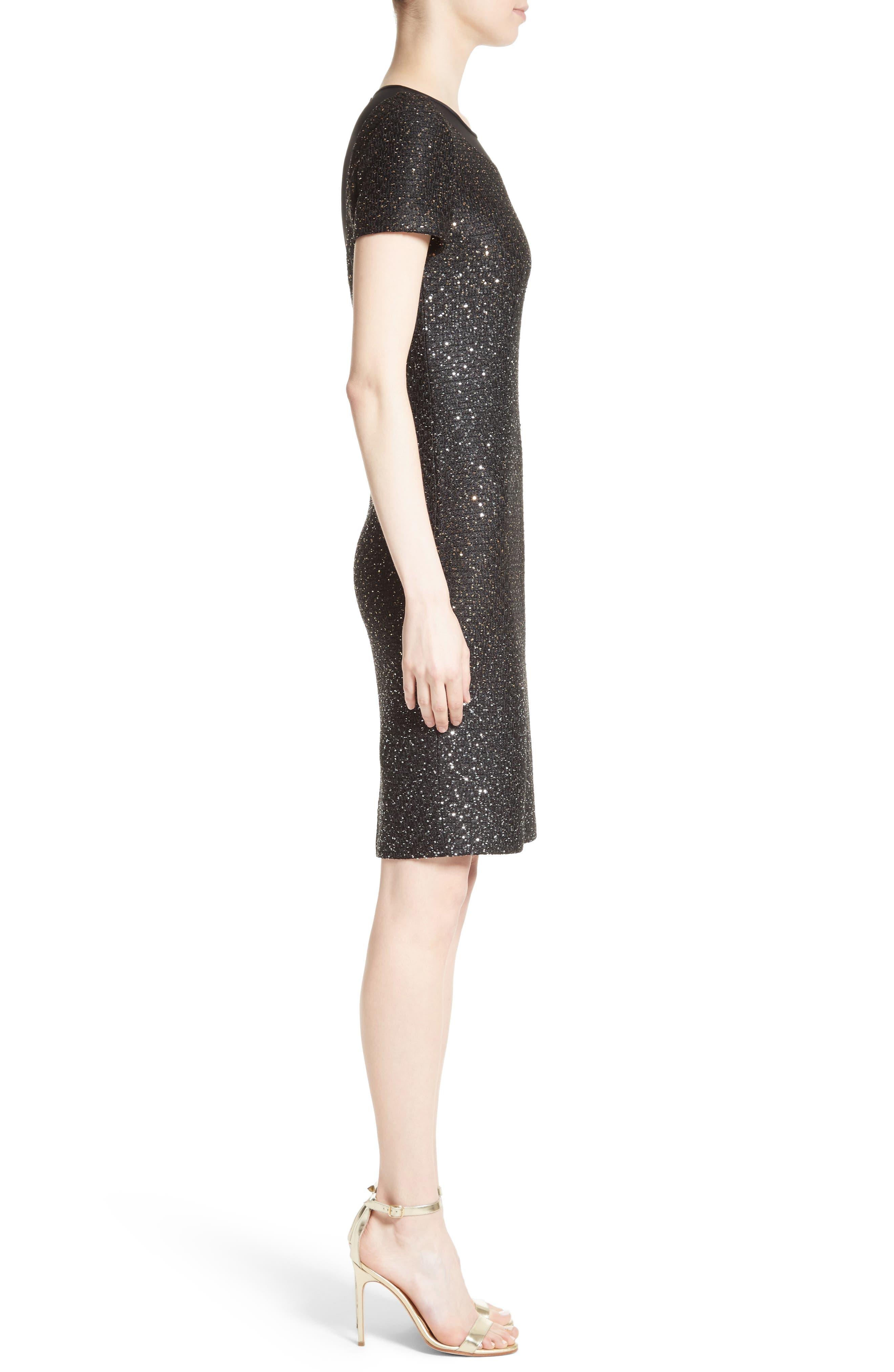Pranay Sequin Knit Sheath Dress,                             Alternate thumbnail 3, color,                             001