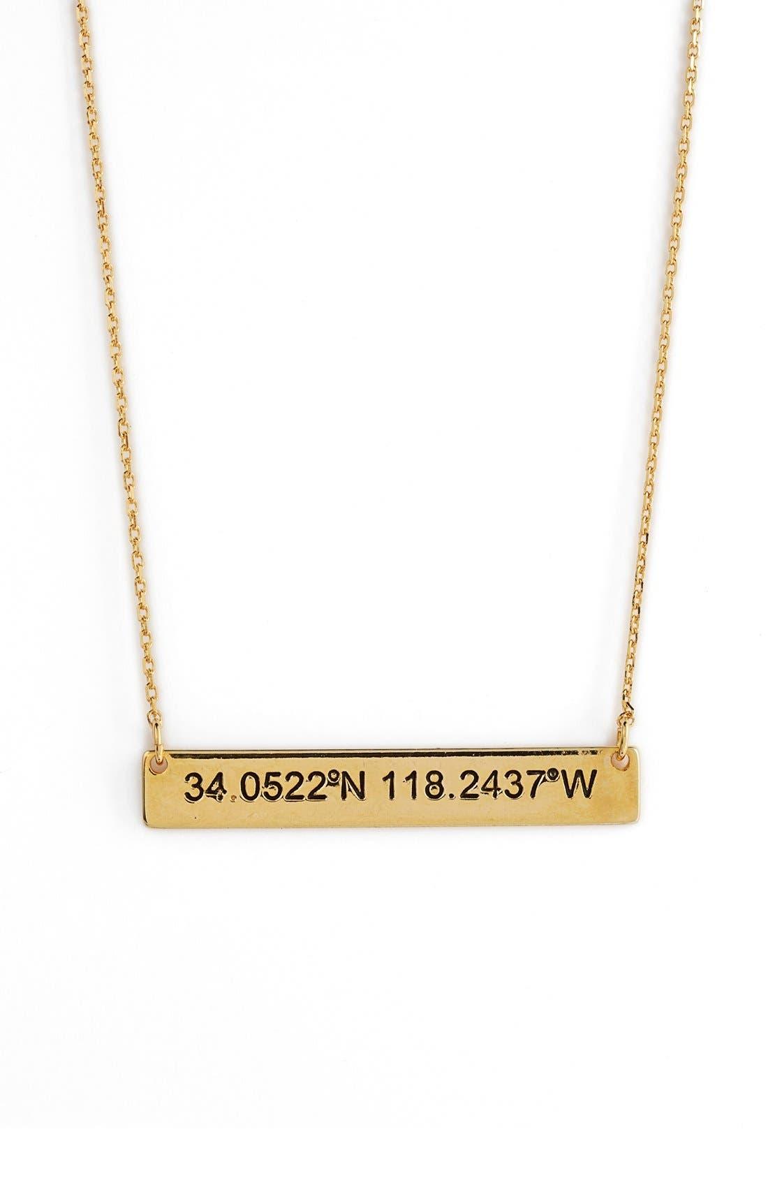 Coordinate Bar Pendant Necklace,                         Main,                         color,