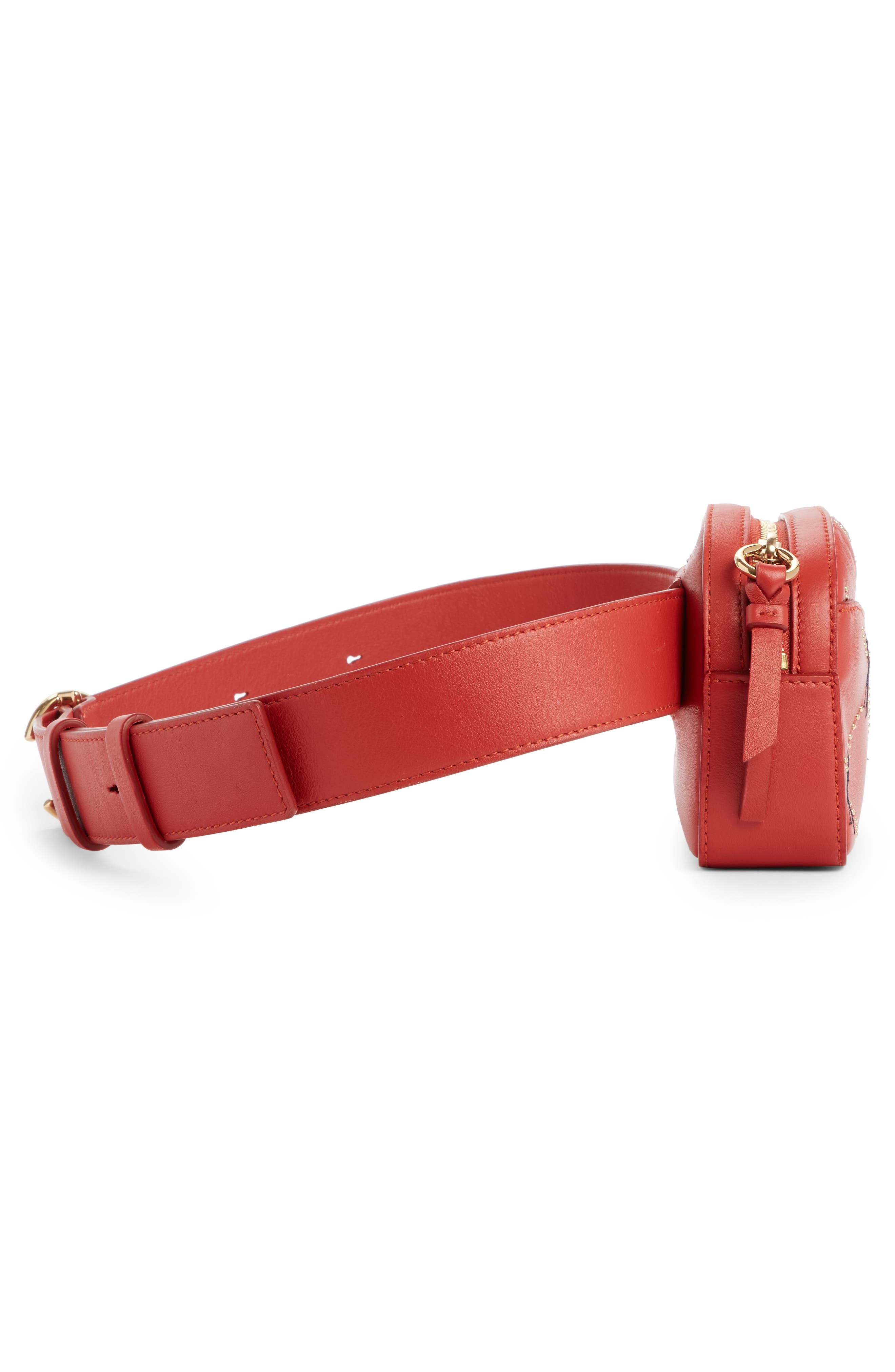 Embroidered Horse Leather Belt Bag,                             Alternate thumbnail 4, color,                             EARTHY RED