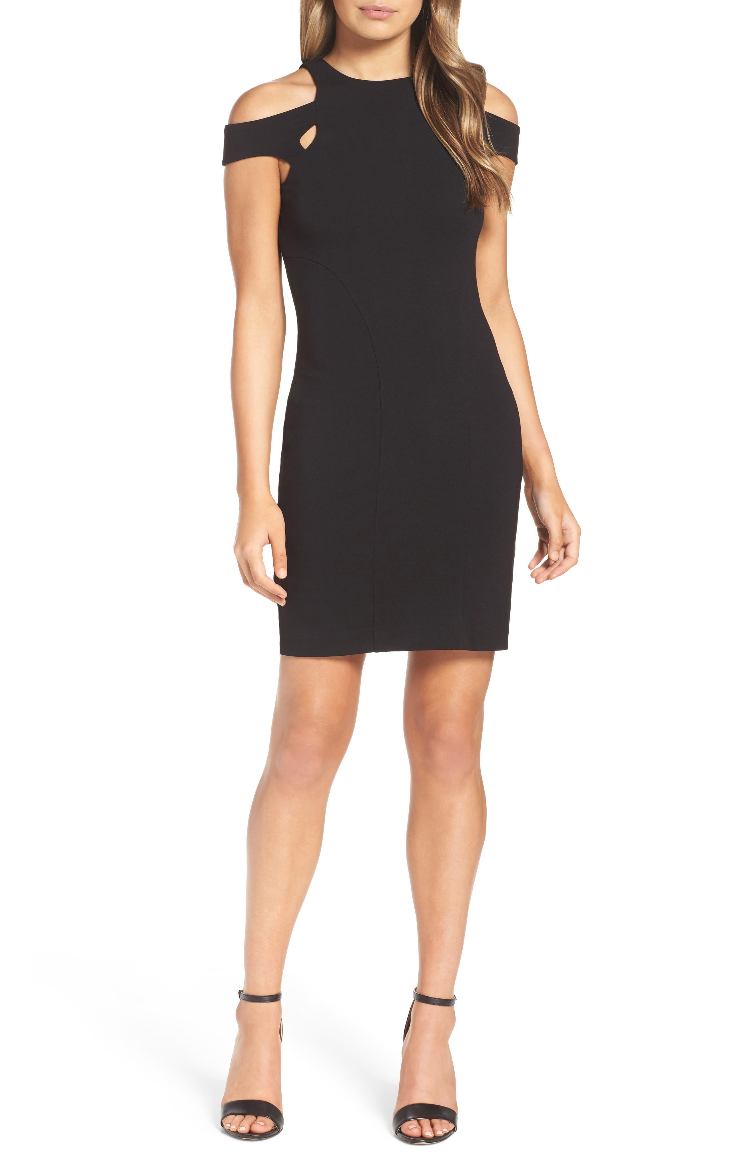 Muy Caliente Cold Shoulder Body-Con Dress,                             Main thumbnail 1, color,                             001
