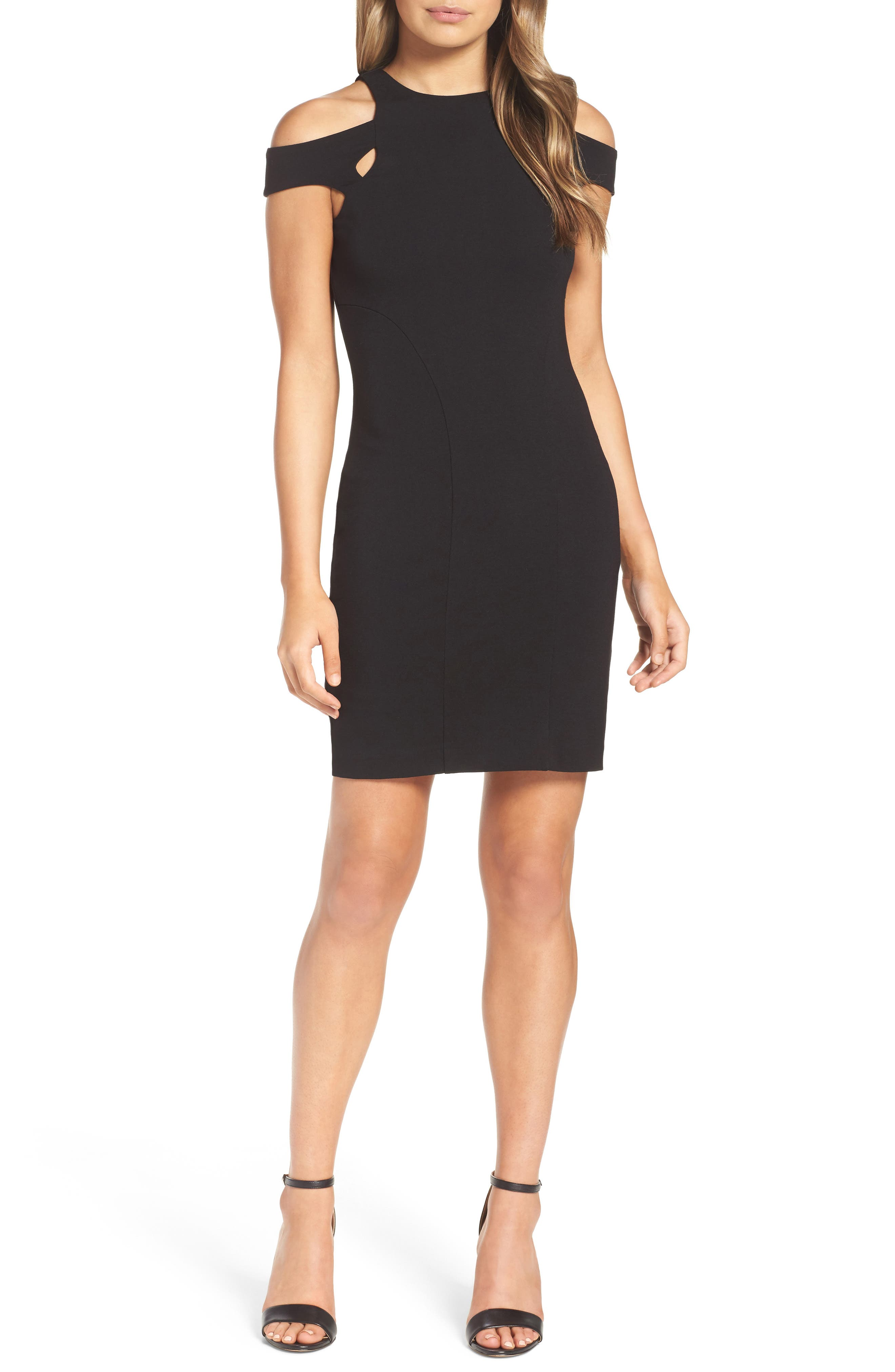 Muy Caliente Cold Shoulder Body-Con Dress,                         Main,                         color, 001