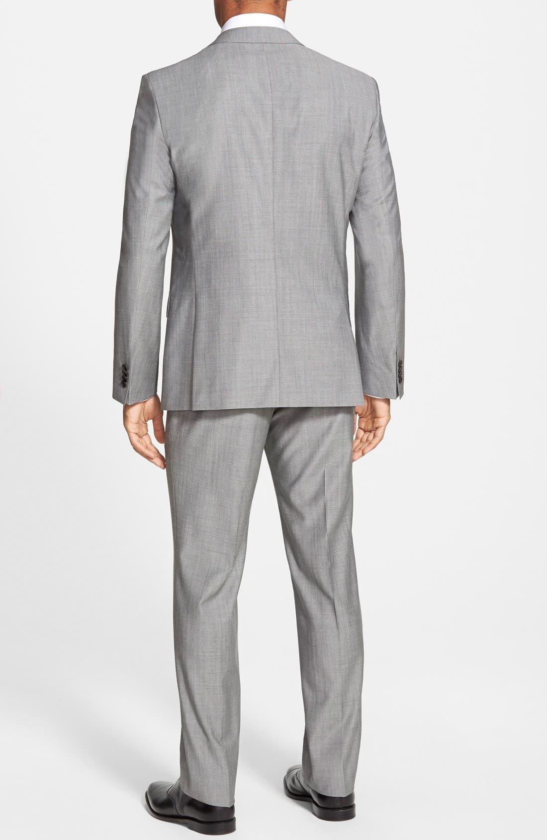 'Huge/Genius' Trim Fit Solid Wool Suit,                             Alternate thumbnail 6, color,                             PEARL GREY