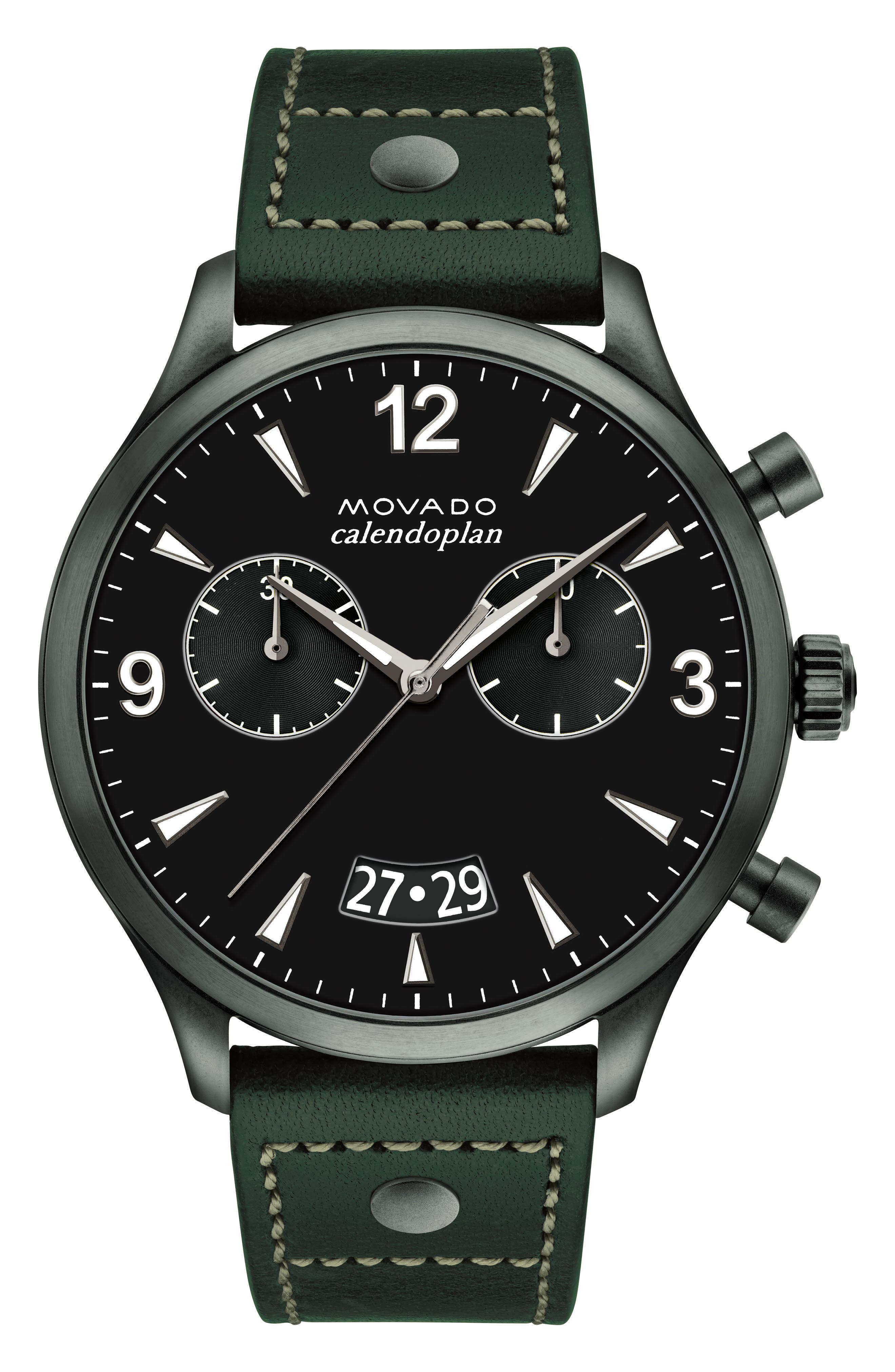 Heritage Calendoplan Chronograph Leather Strap Watch, 45mm,                         Main,                         color, GREEN/ BLACK/ GUNMETAL