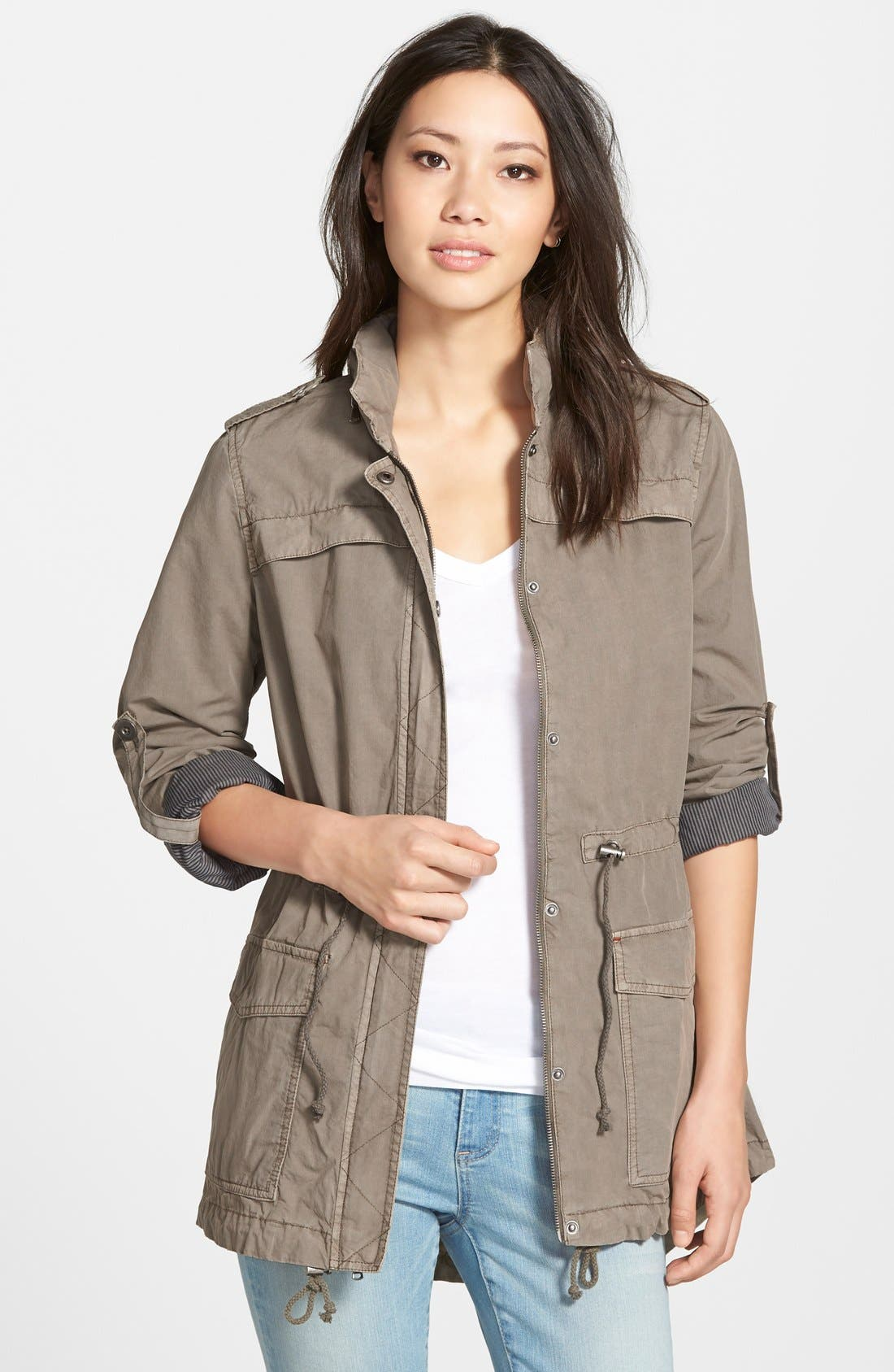 Lightweight Cotton Hooded Utility Jacket,                             Main thumbnail 3, color,