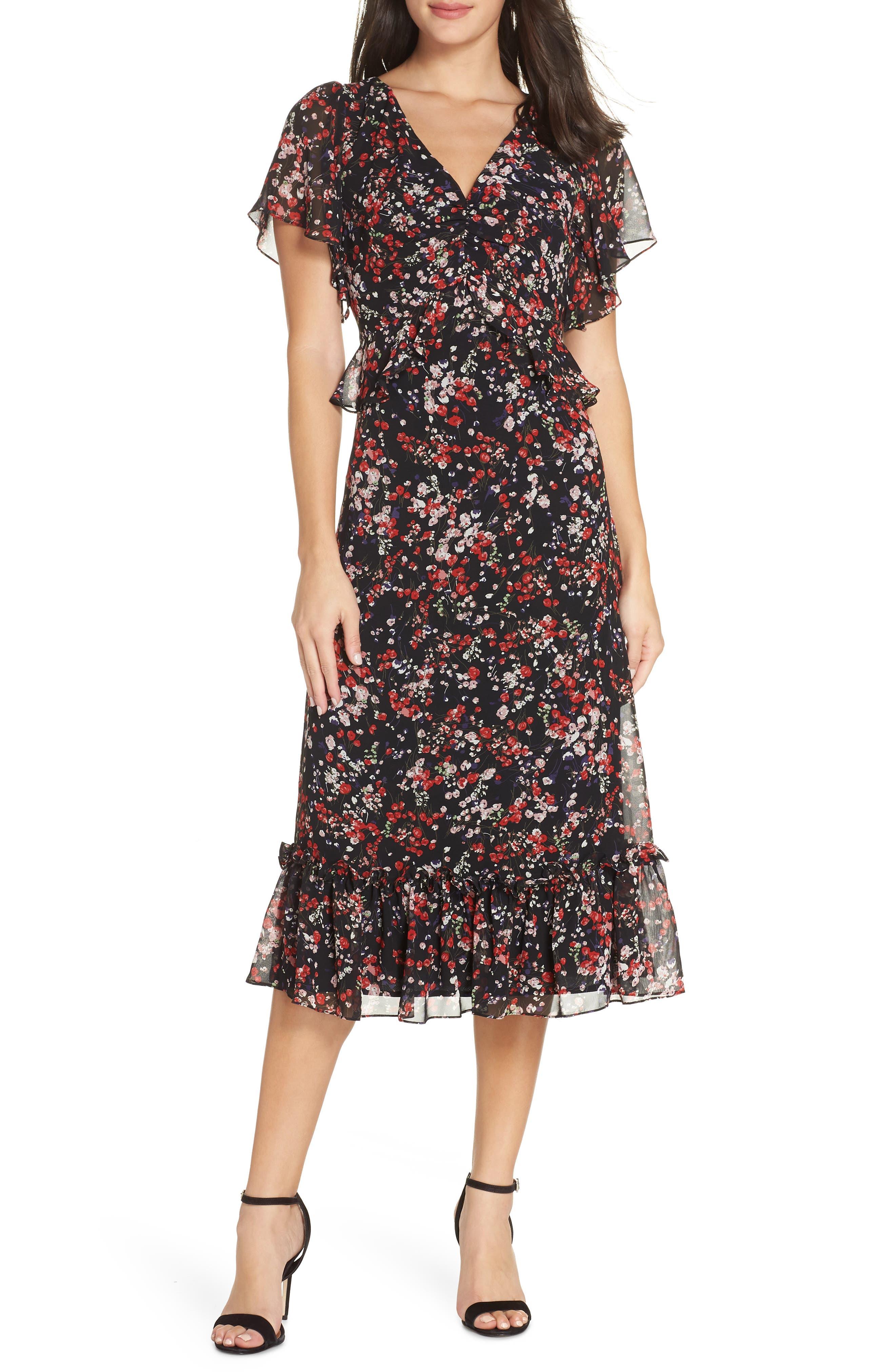Chelsea28 Floral Ruffle Midi Dress, Black