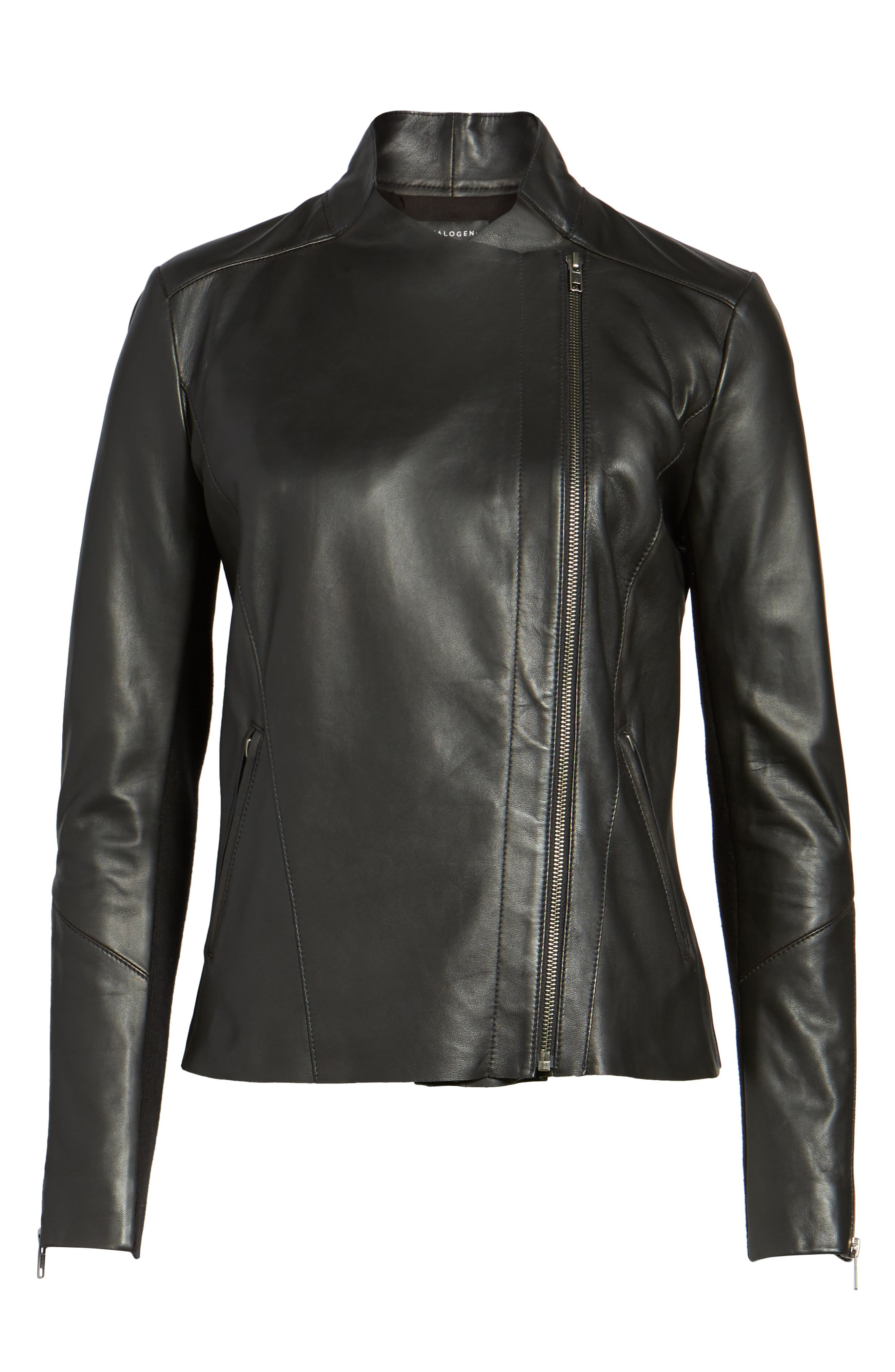 Asymmetrical Leather Jacket,                             Alternate thumbnail 9, color,