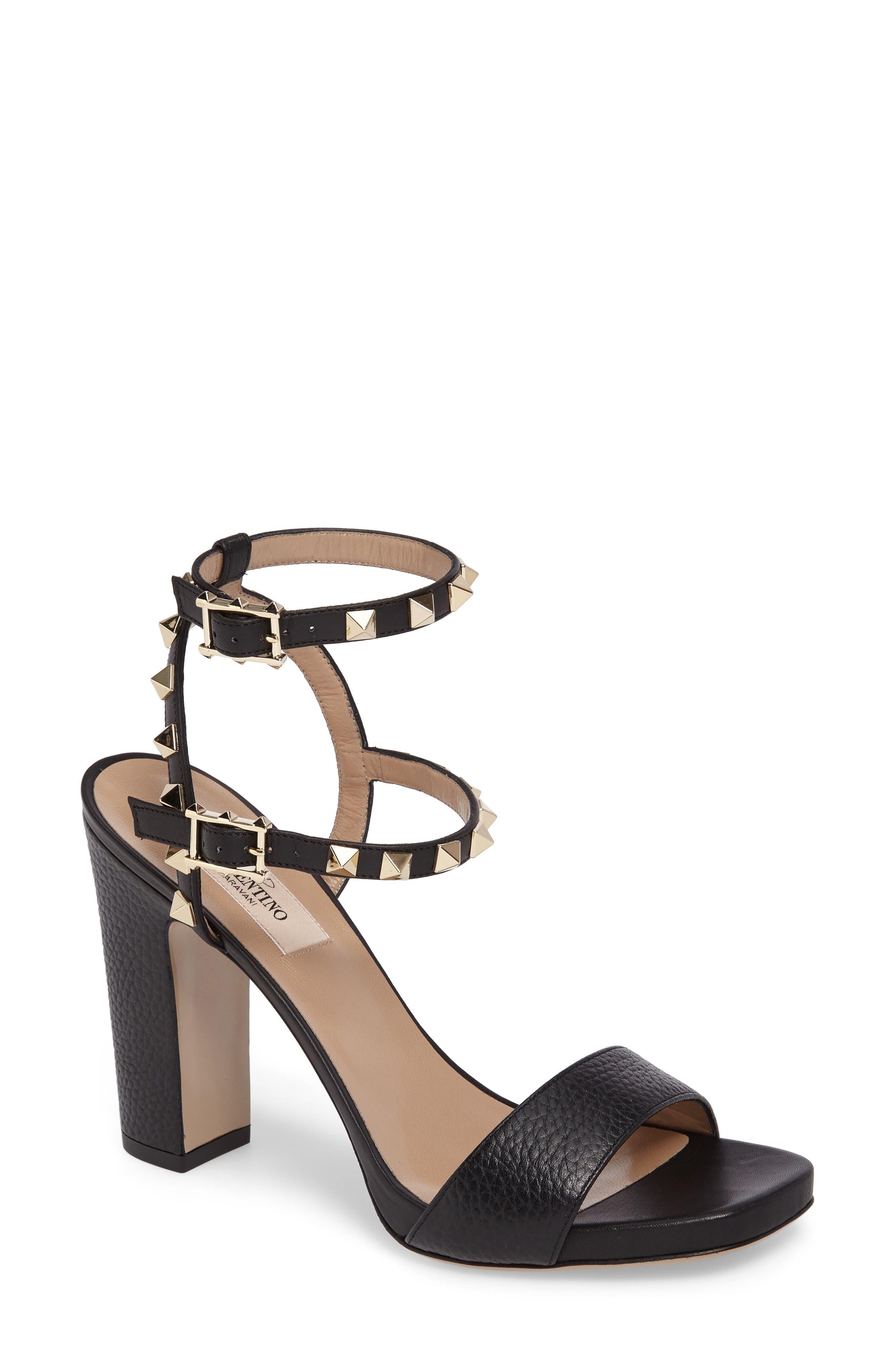 Rockstud Ankle Strap Sandal,                             Main thumbnail 1, color,                             BLACK