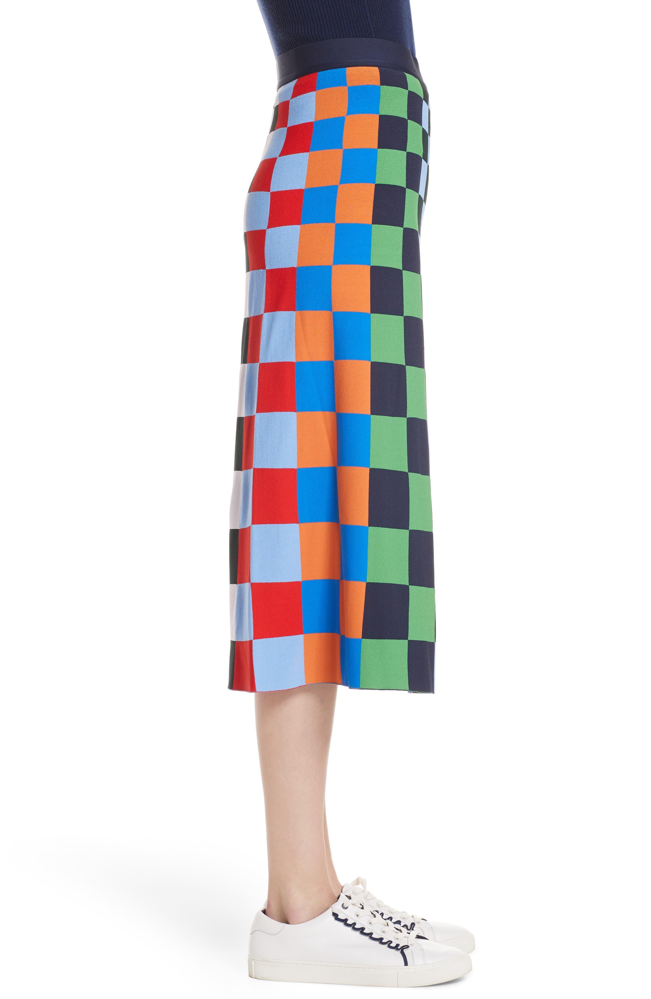 Check Tech Knit Skirt,                             Alternate thumbnail 3, color,                             CHECK STRIPE ALLOVER MULTI