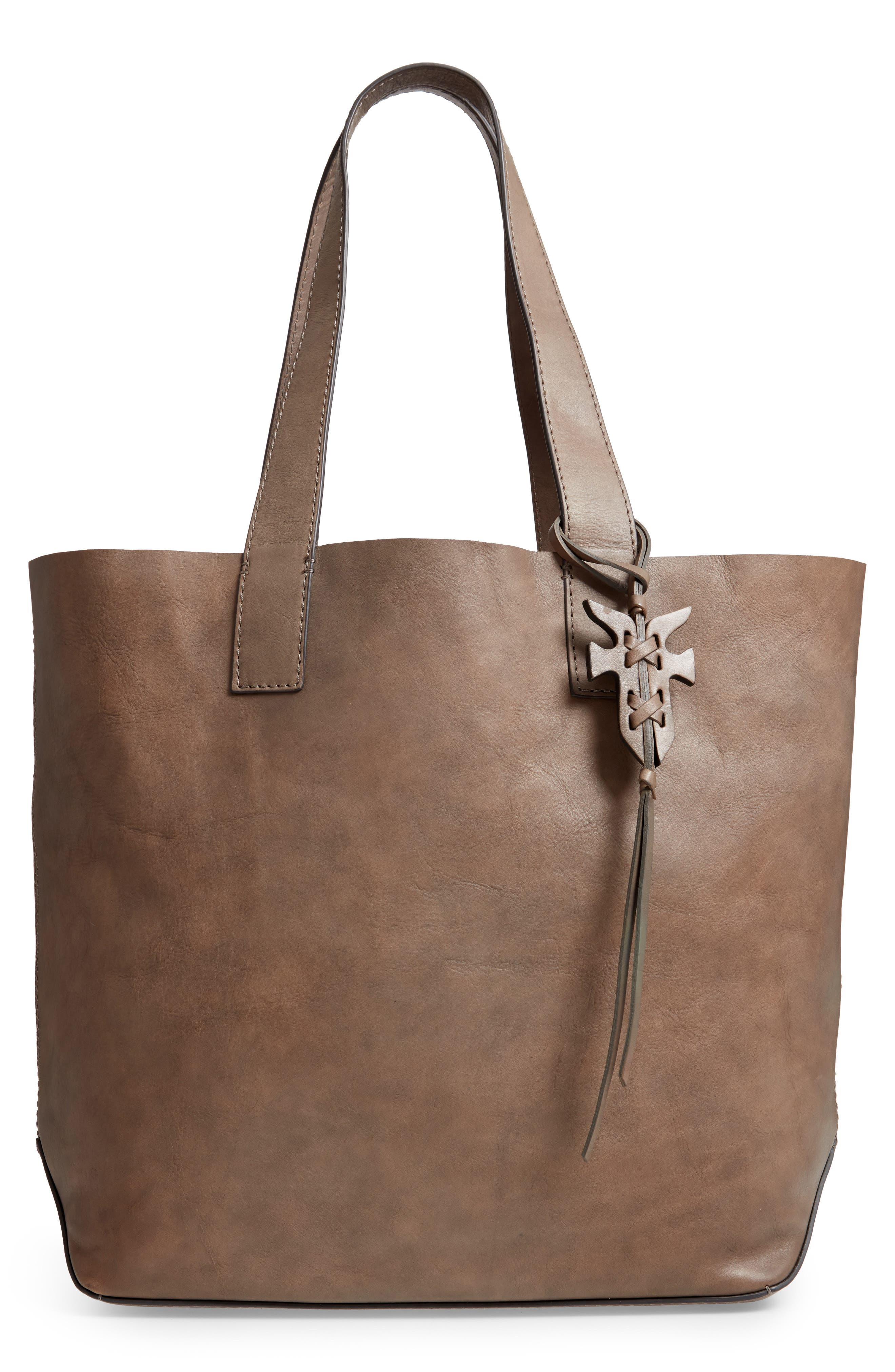 Carson Leather Tote,                         Main,                         color, GREY