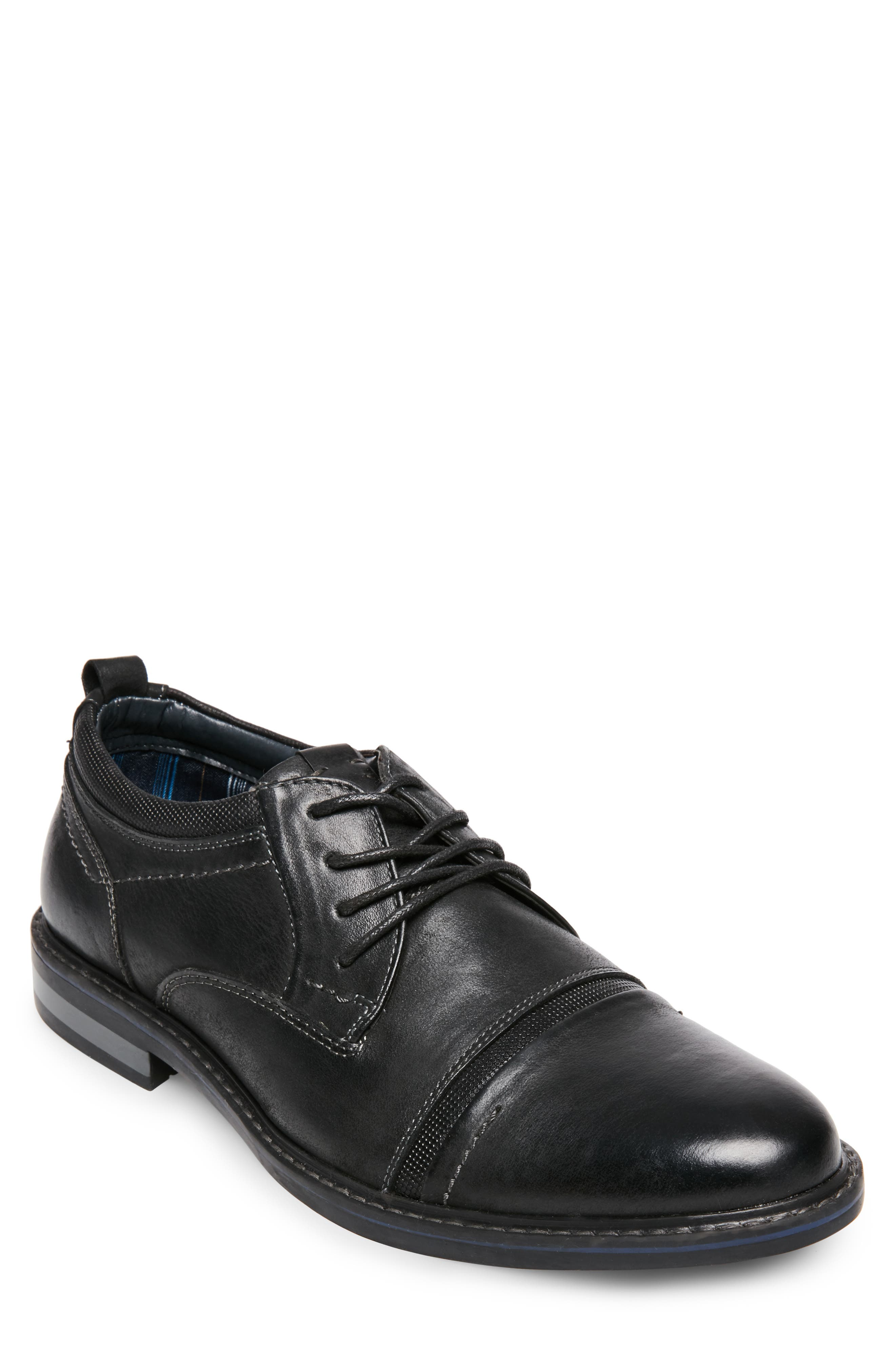 O'Leary Cap Toe Derby,                             Main thumbnail 1, color,                             BLACK LEATHER