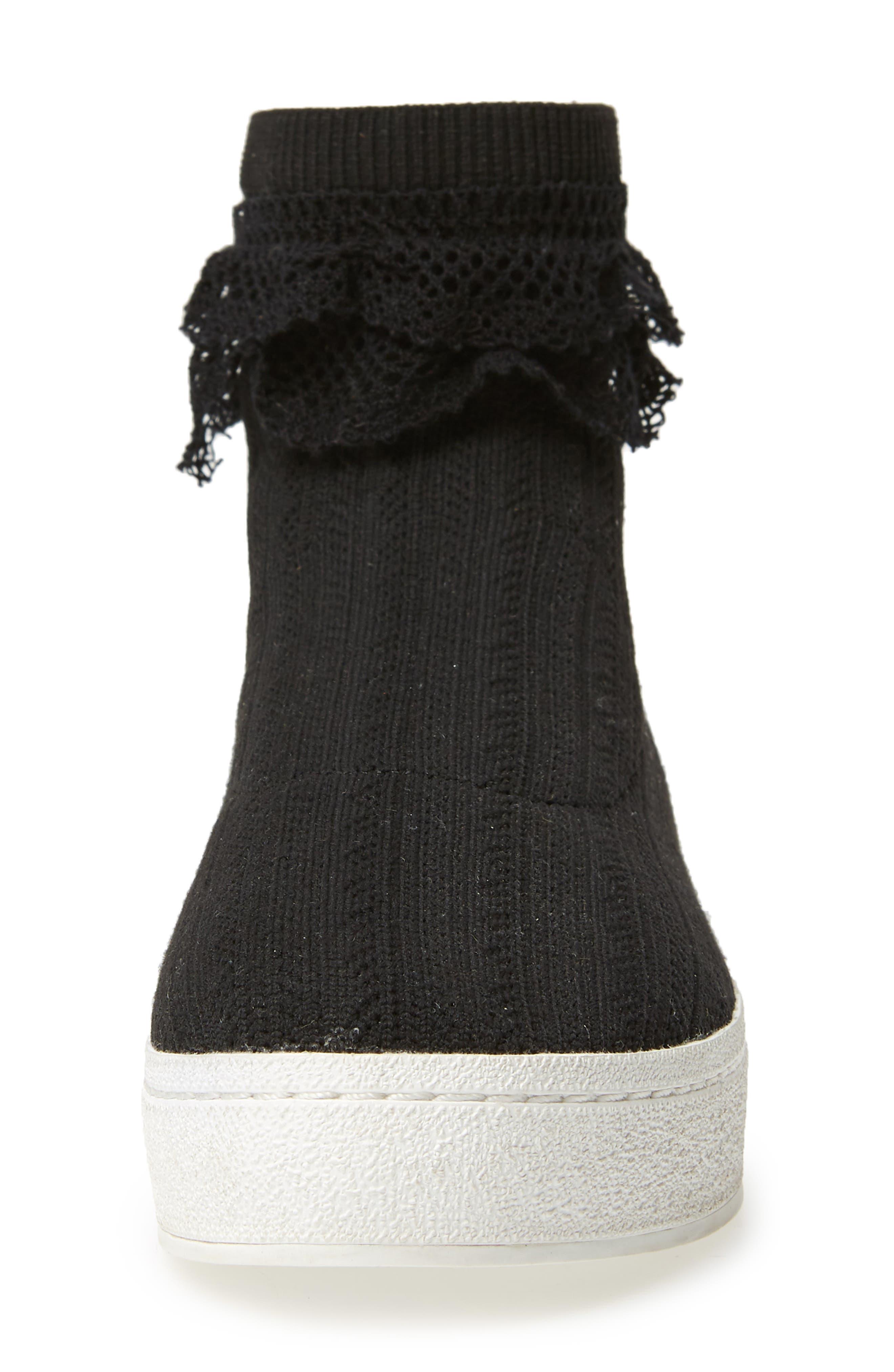 Bobby Sock Knit Sneaker,                             Alternate thumbnail 4, color,                             BLACK