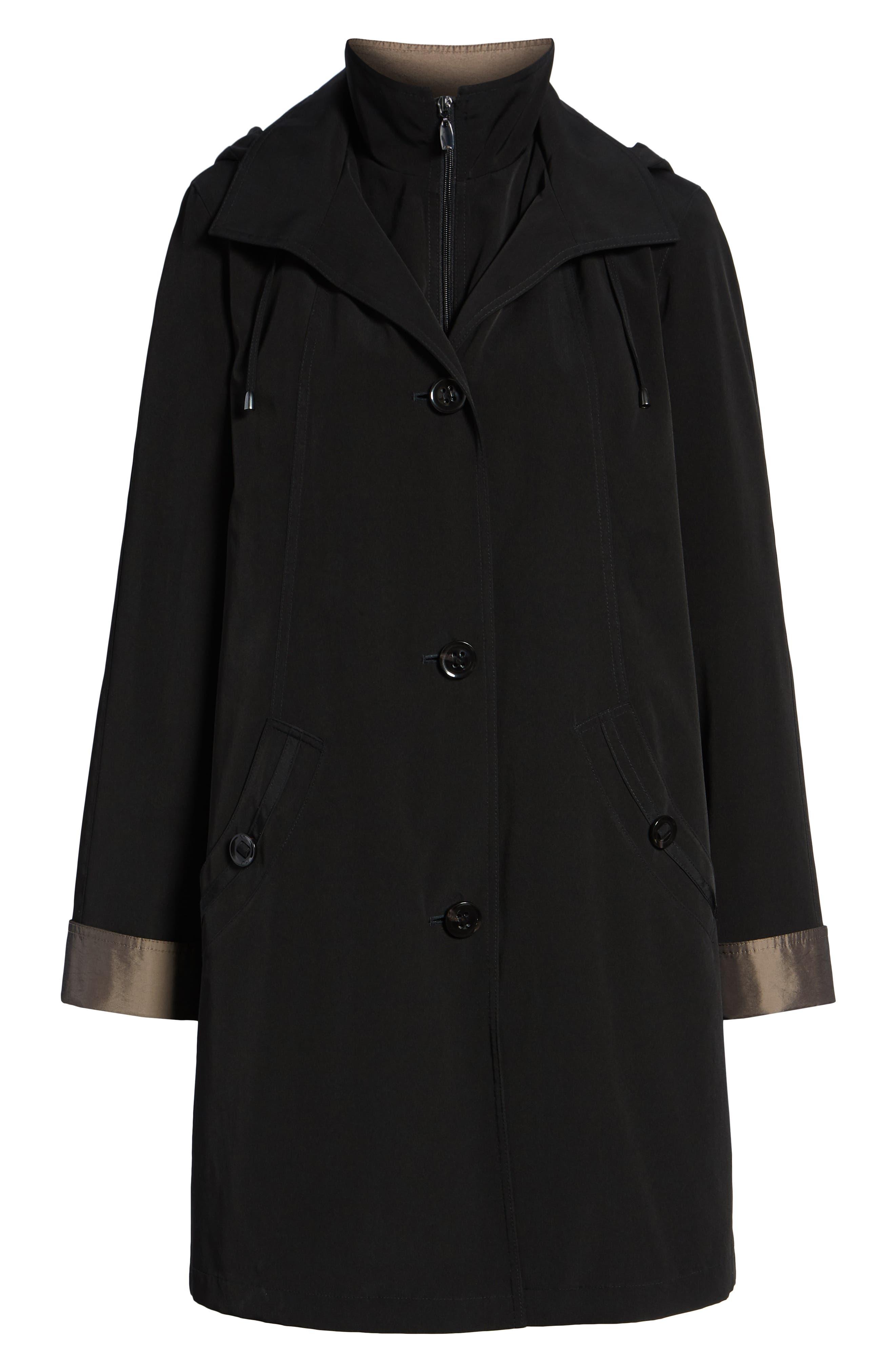 Detachable Hood & Liner Raincoat,                             Alternate thumbnail 6, color,                             BLACK