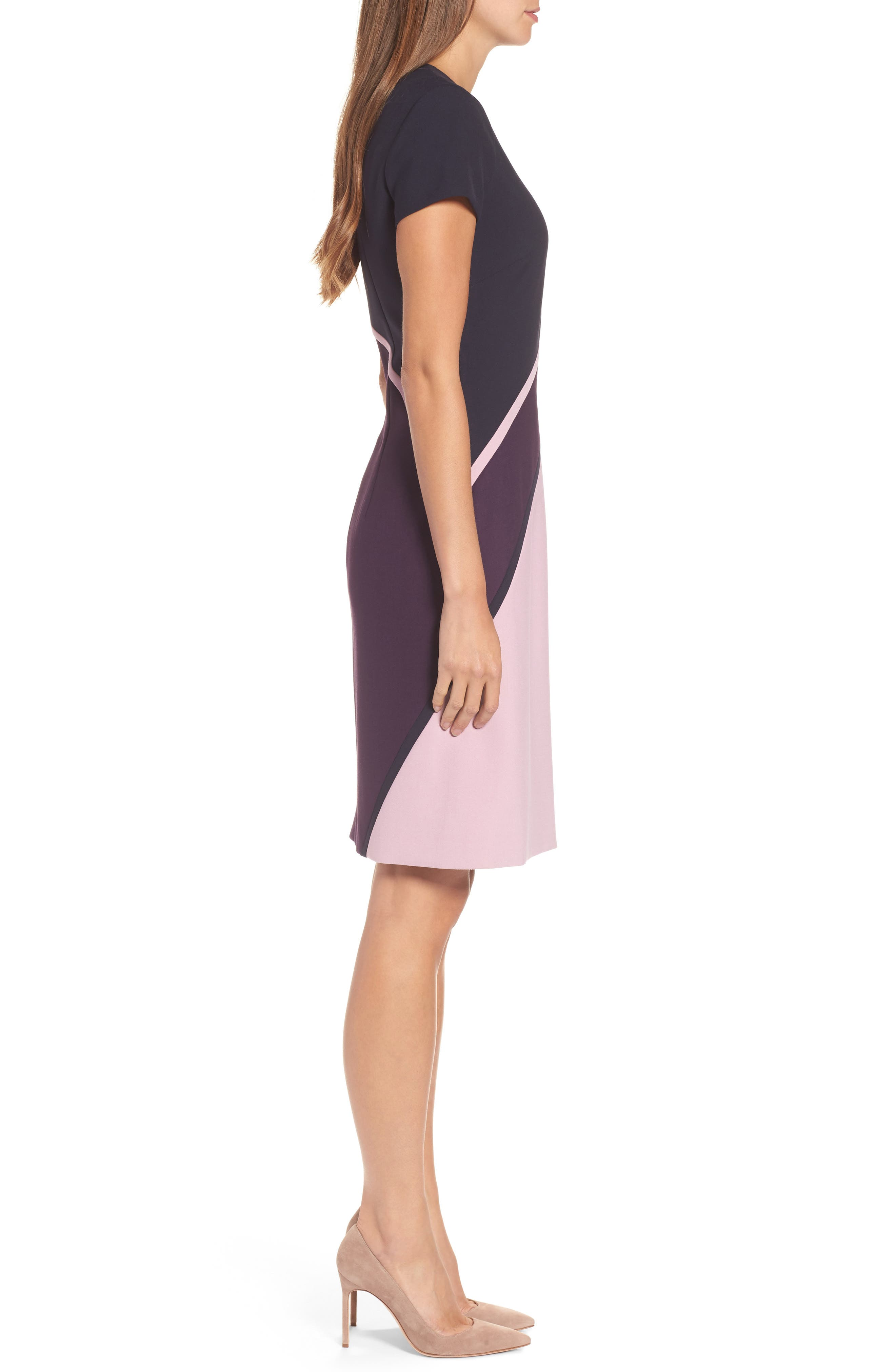 Dukatia Colorblock Sheath Dress,                             Alternate thumbnail 3, color,                             502