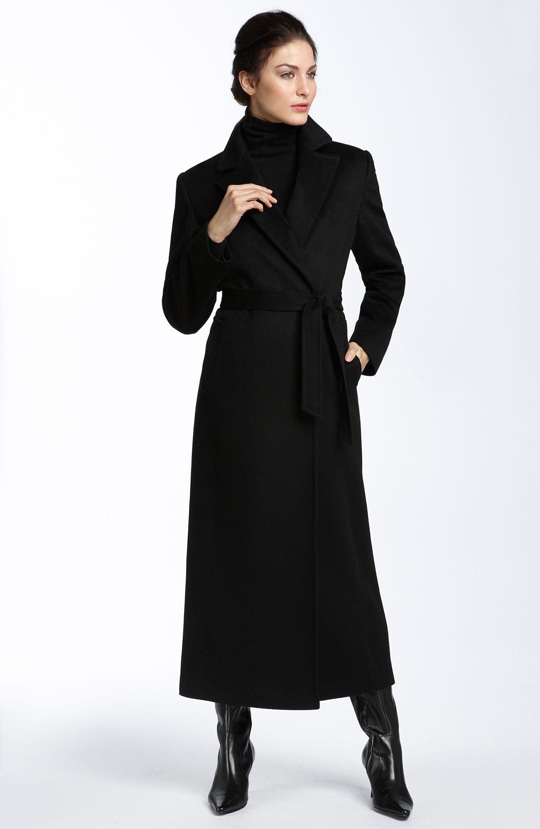 Cashmere & Wool Coat with Fox Fur,                             Alternate thumbnail 2, color,                             001