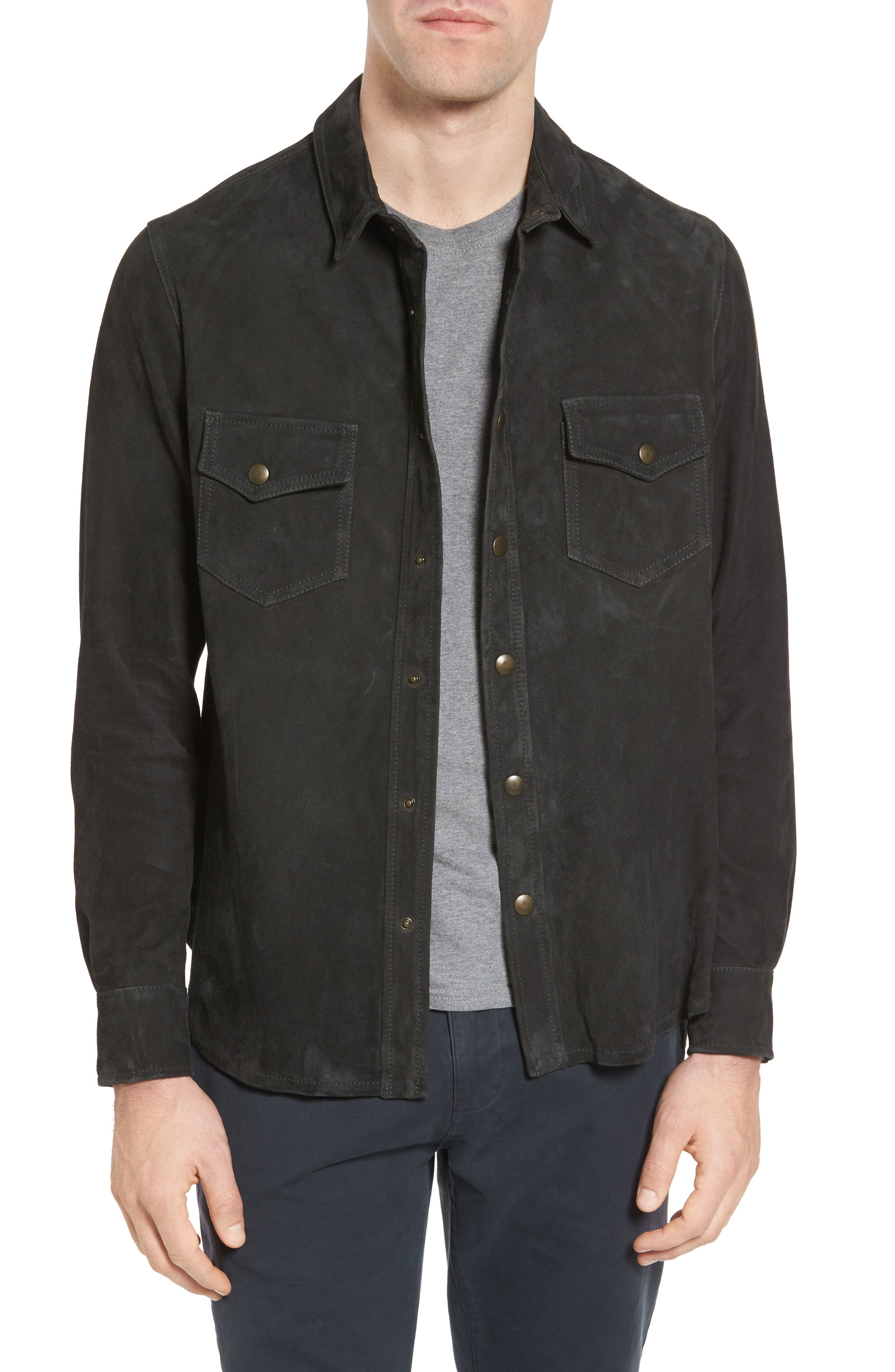 Suede Work Shirt,                         Main,                         color, CHARCOAL