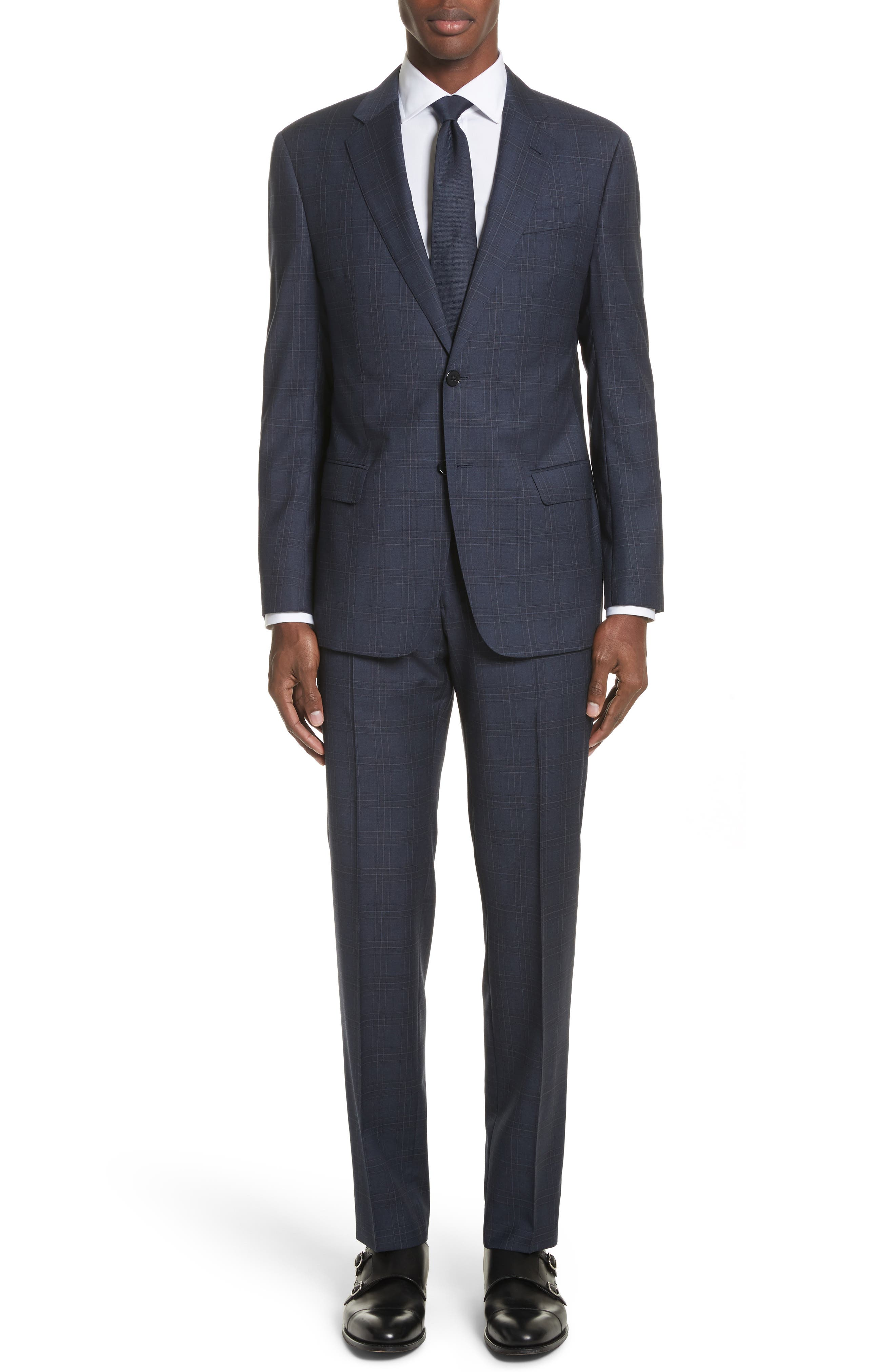 G Line Trim Fit Plaid Wool Suit,                         Main,                         color, 459