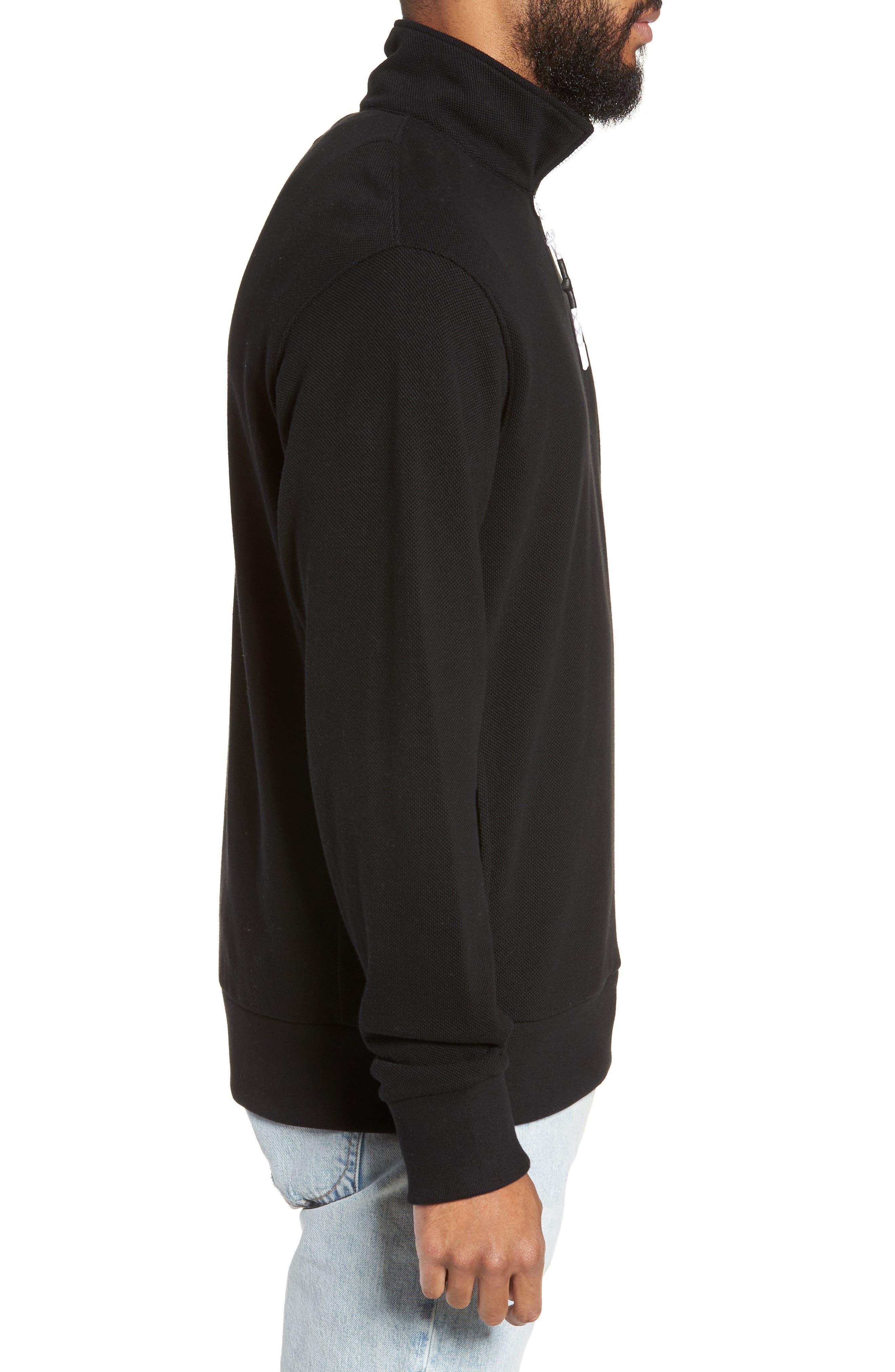 Piqué Quarter Zip Pullover,                             Alternate thumbnail 3, color,                             BLACK