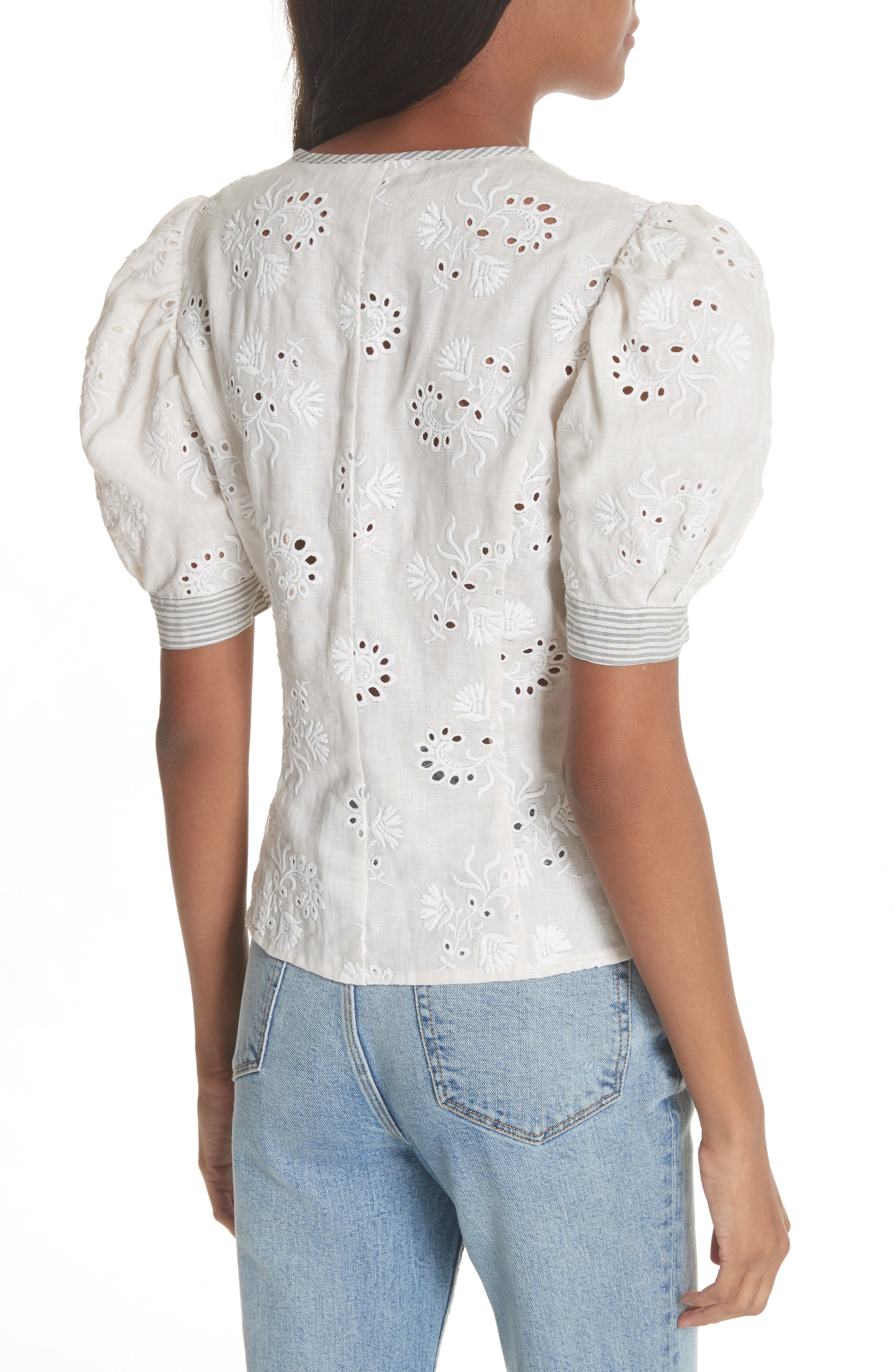Garden Eyelet Linen Top,                             Alternate thumbnail 2, color,                             192