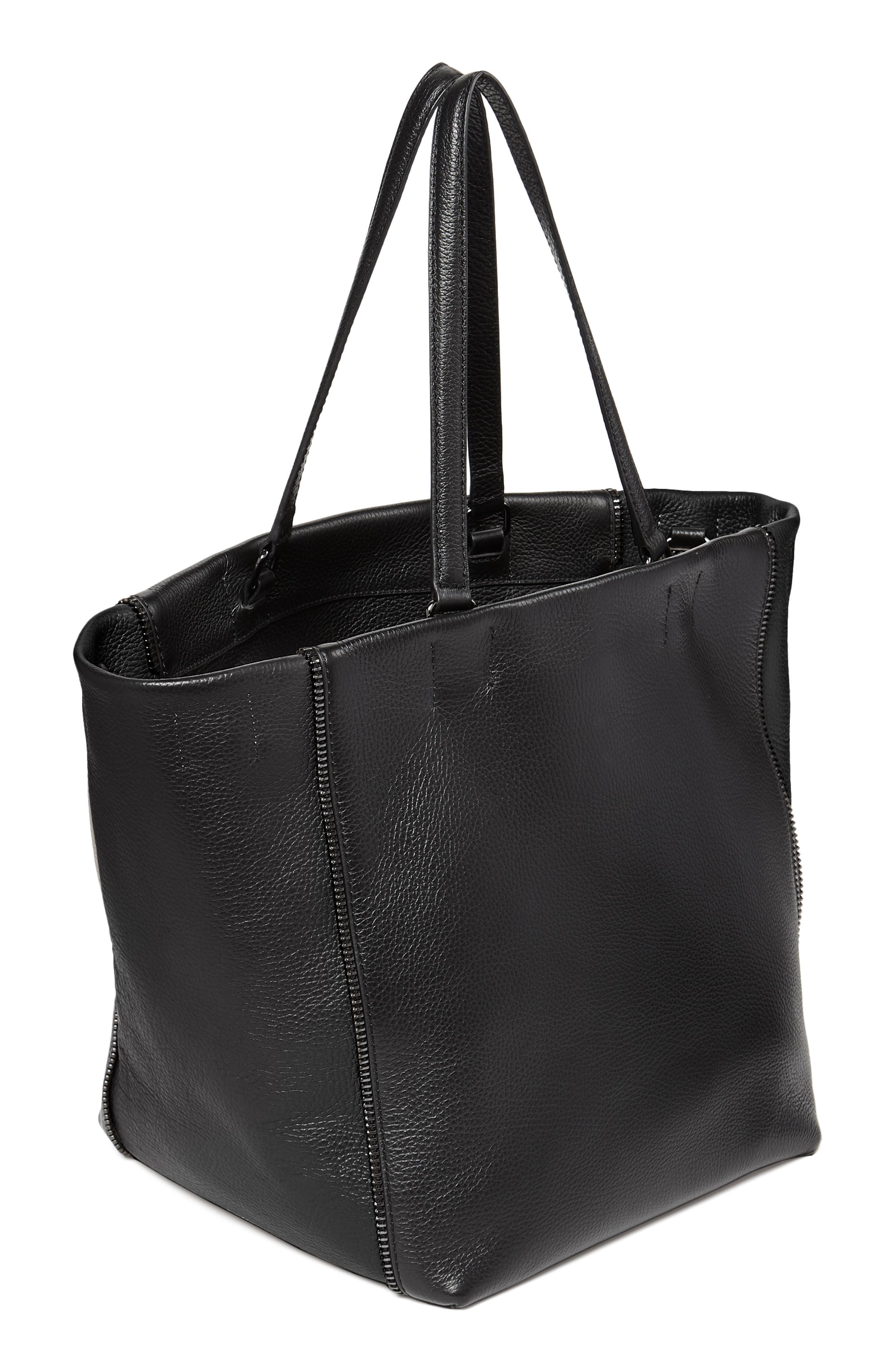 Larger Wooster Leather Tote,                             Alternate thumbnail 4, color,                             BLACK