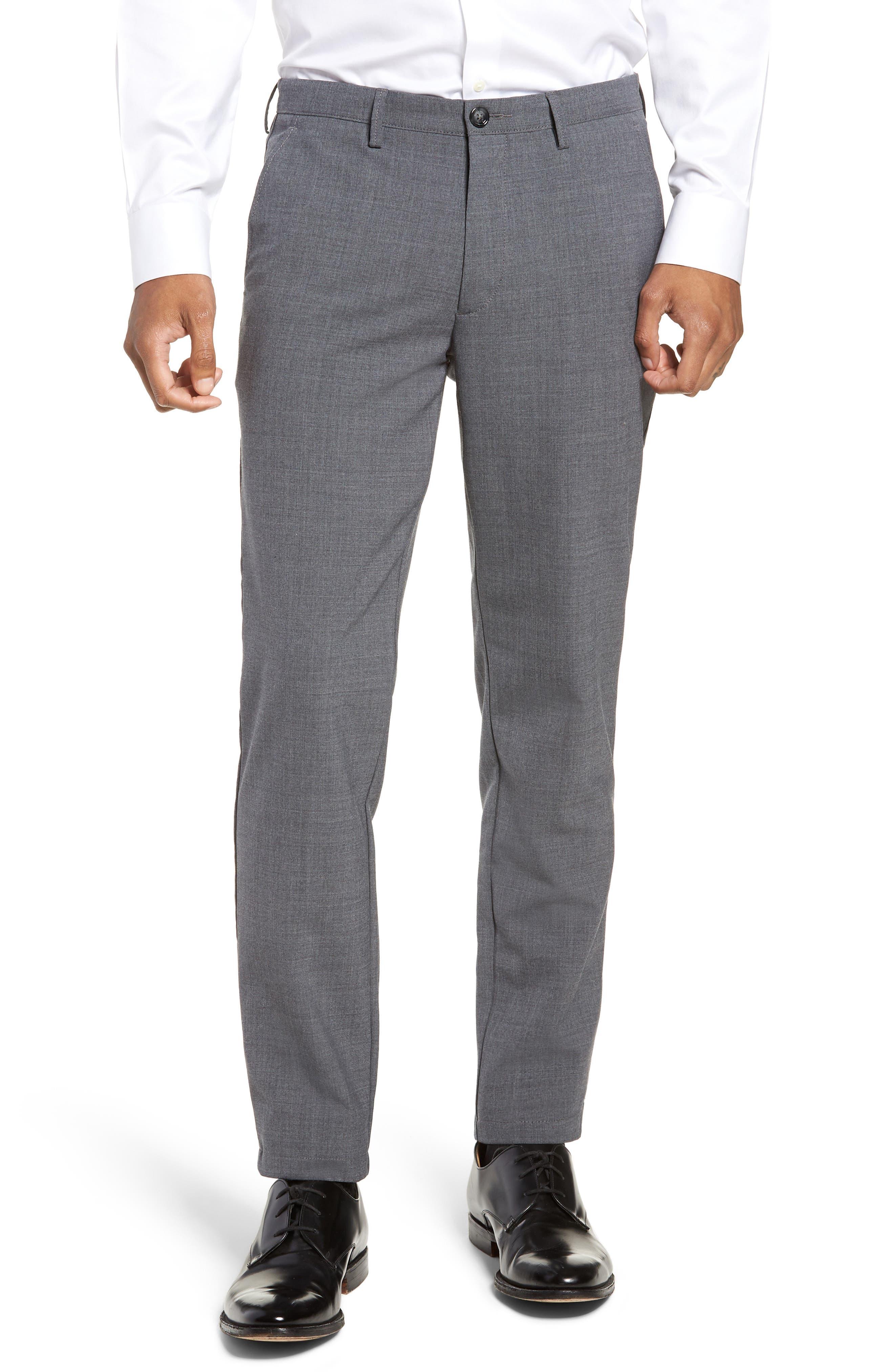 Kaito Slim Fit Wool Trousers,                             Main thumbnail 1, color,                             GREY