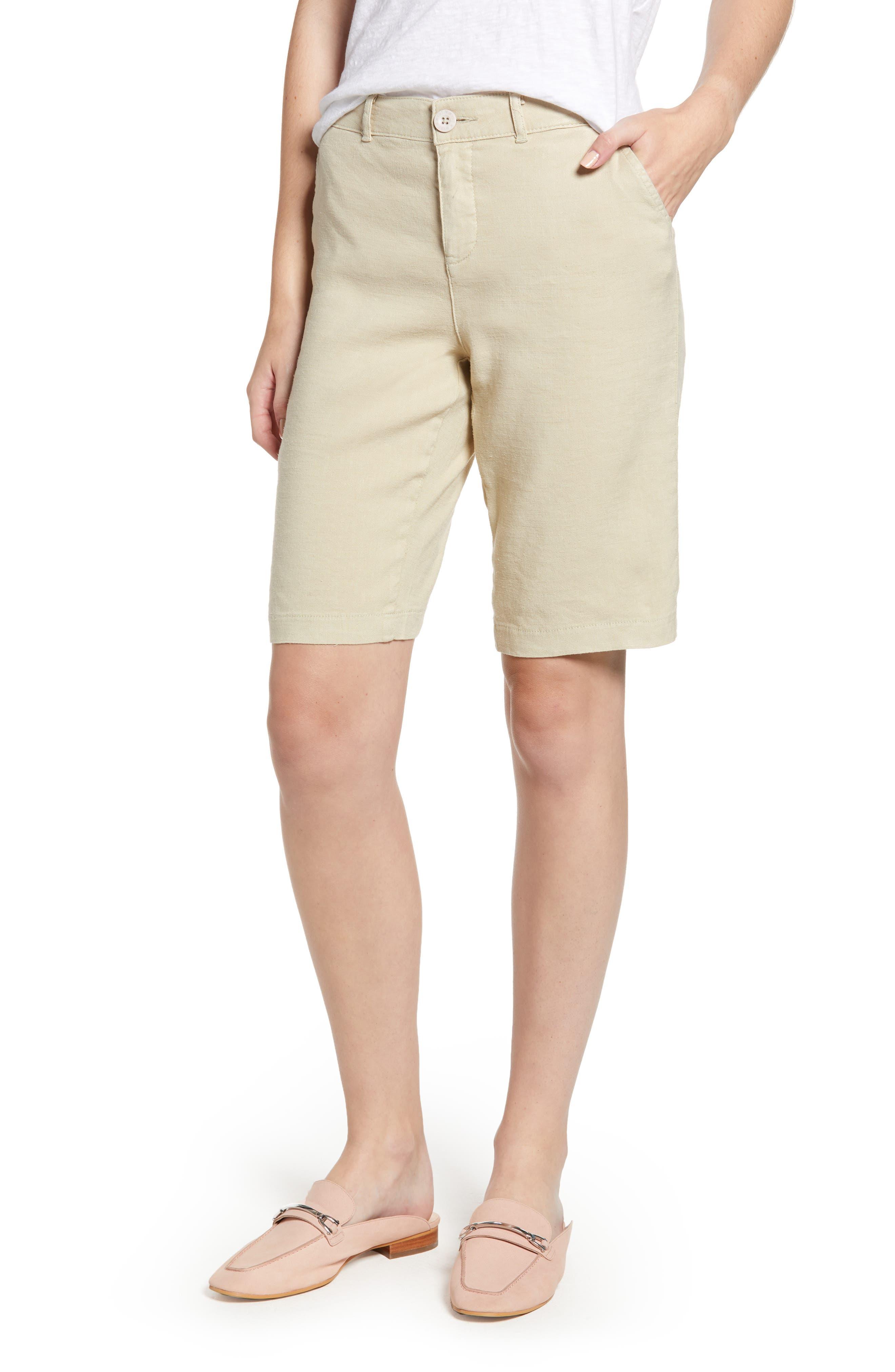 Stretch Linen Blend Bermuda Shorts,                             Main thumbnail 2, color,
